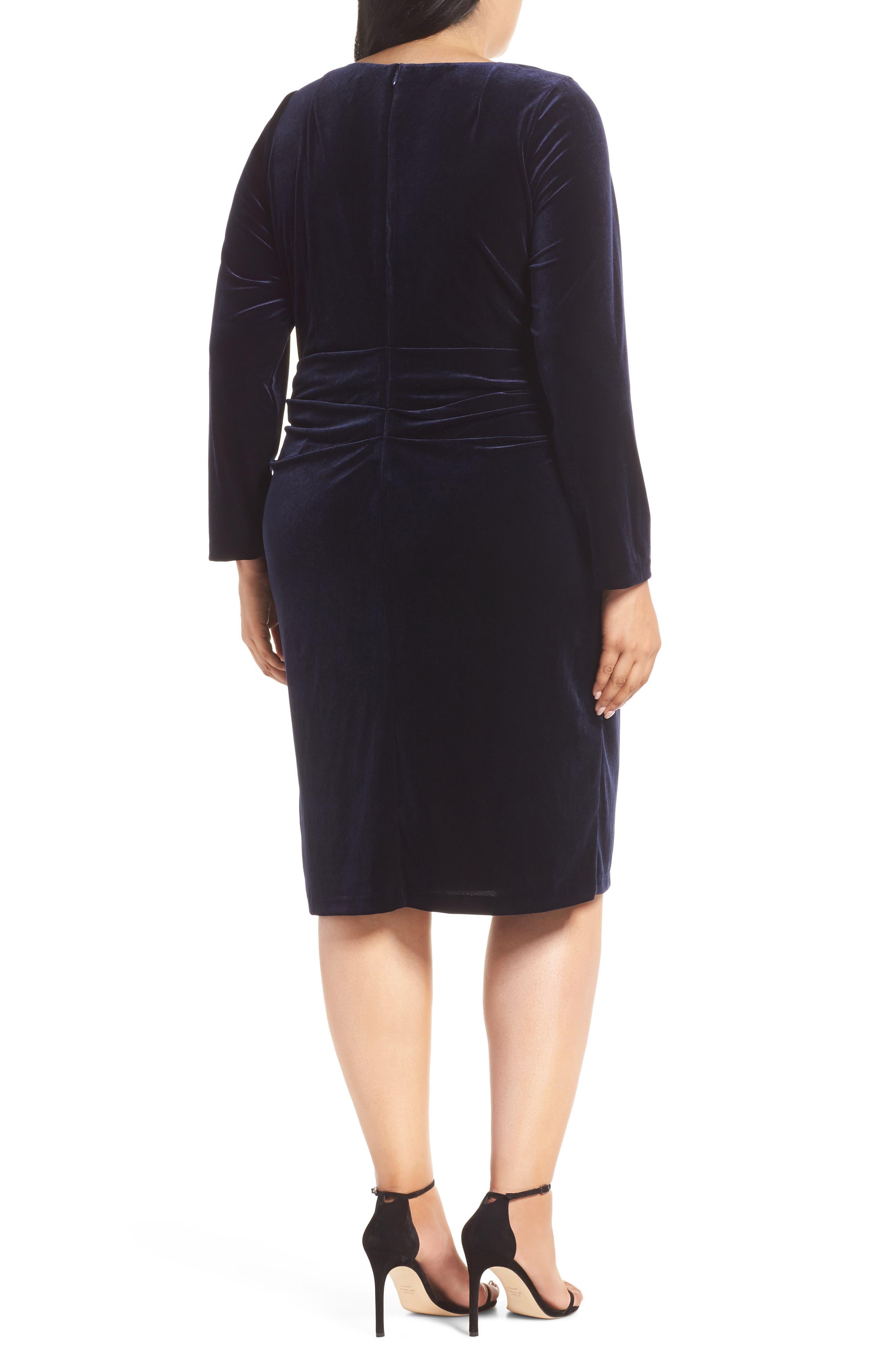 Midi Dress,                             Alternate thumbnail 2, color,                             NAVY