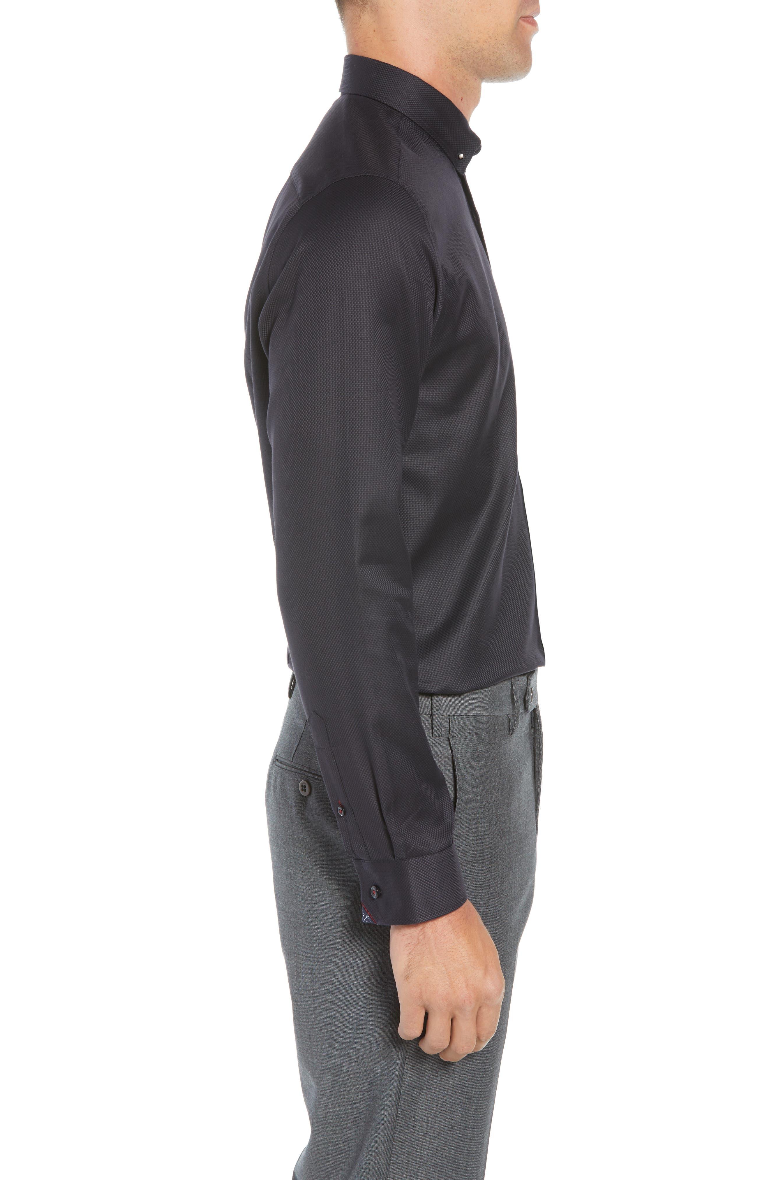Leek Slim Fit Solid Dress Shirt,                             Alternate thumbnail 4, color,                             NAVY