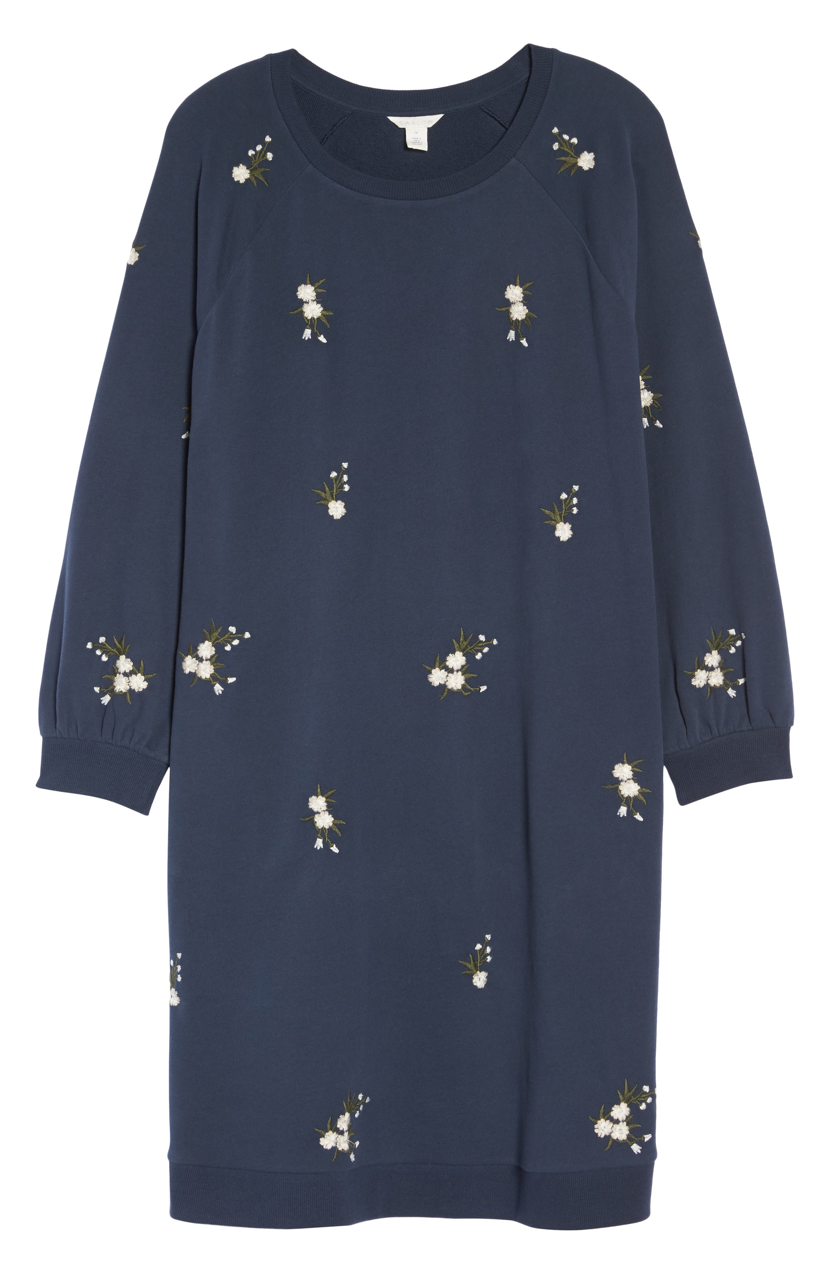 Embroidered Fleece Knit Dress,                             Alternate thumbnail 7, color,                             410