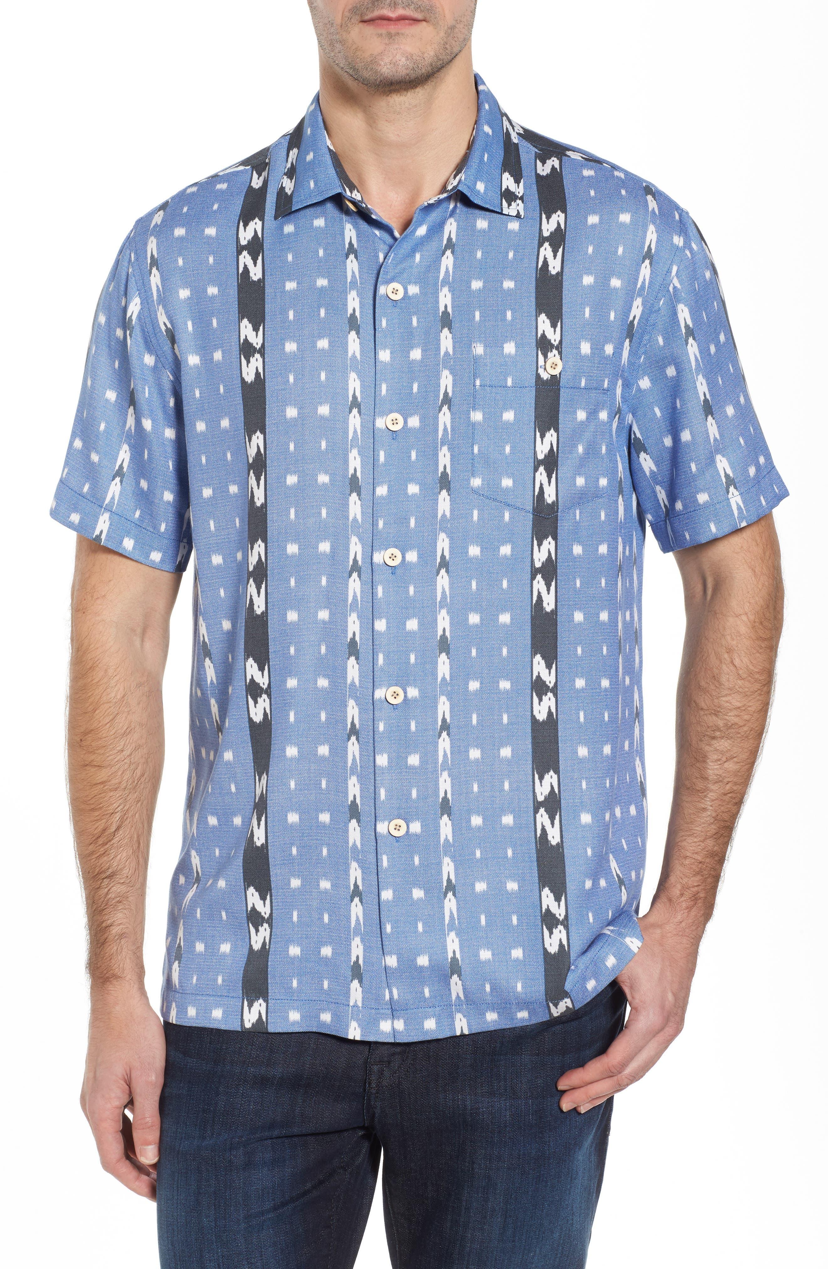 Ikat Don't Stop Silk Blend Camp Shirt,                             Main thumbnail 1, color,                             400