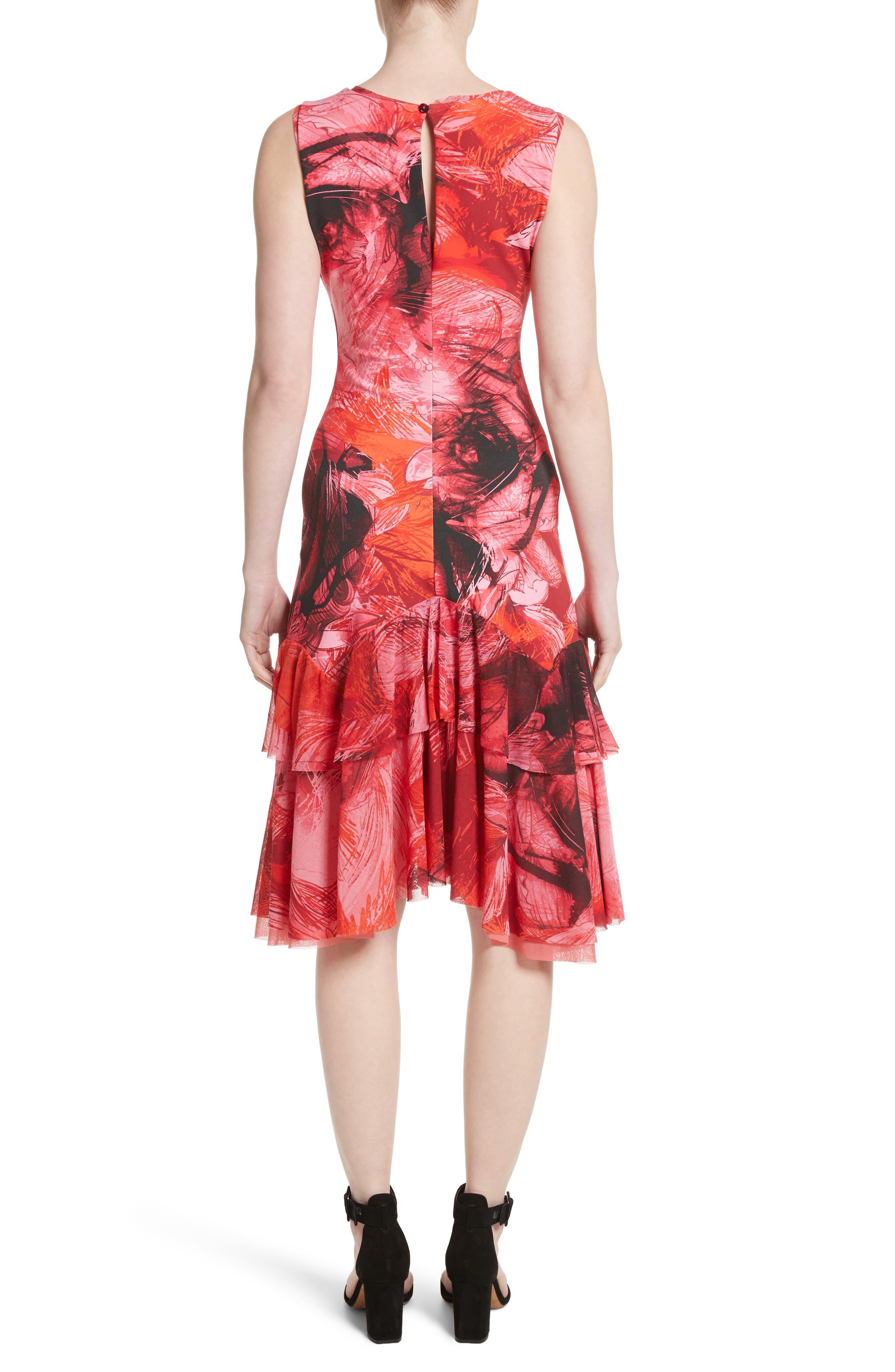 Print Tulle Ruffle Hem Dress,                             Alternate thumbnail 2, color,