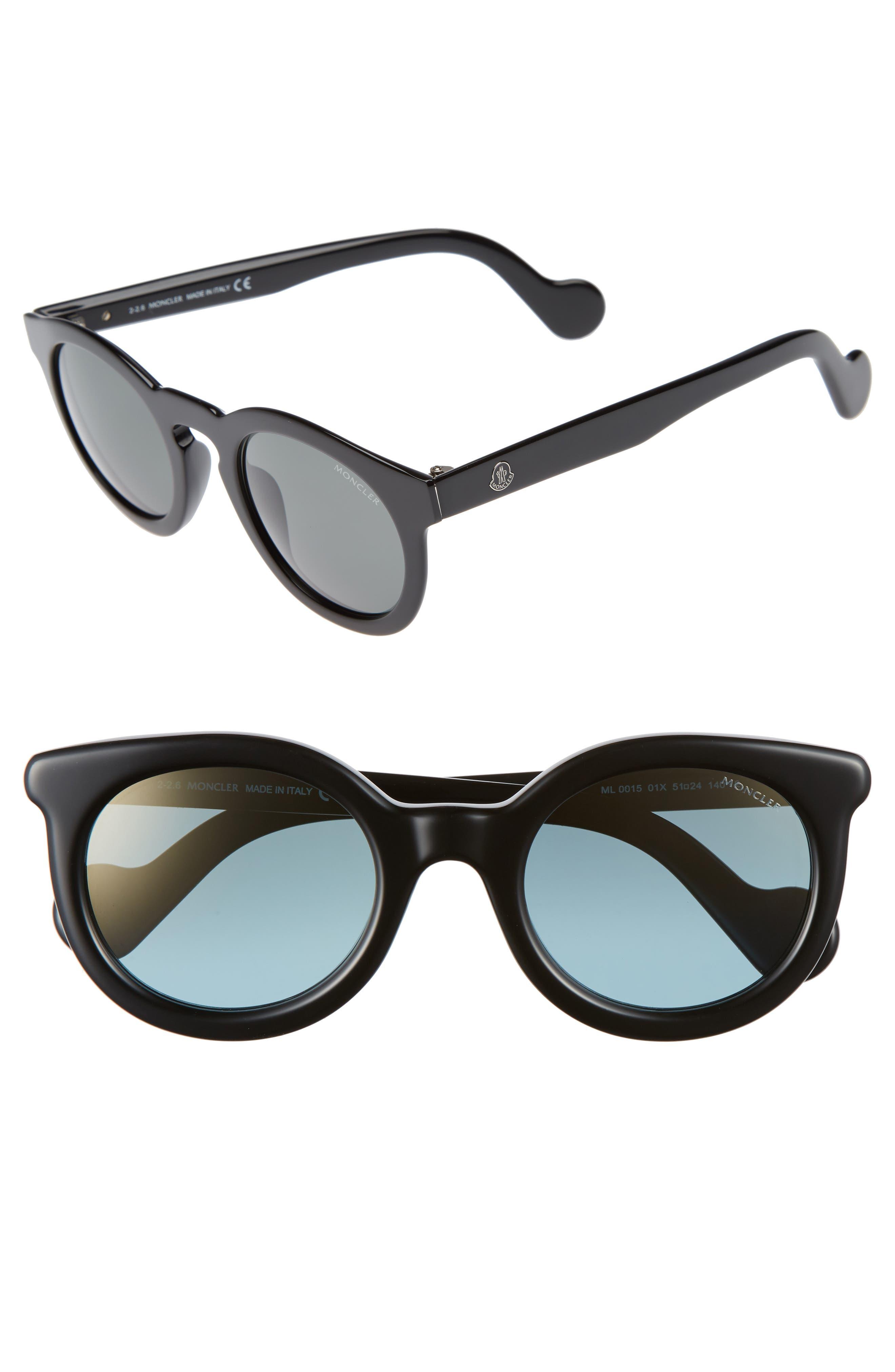 MONCLER 49mm Keyhole Sunglasses, Main, color, 001