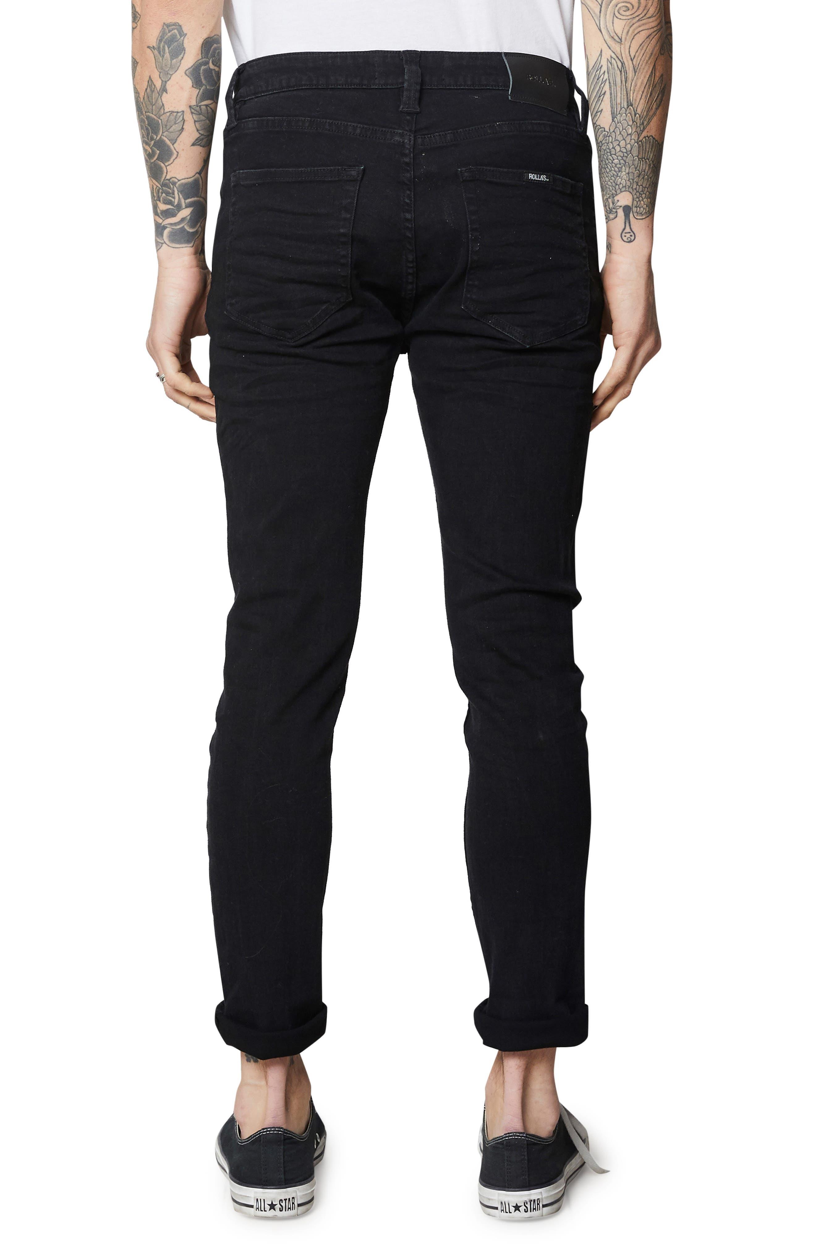 Rollies Slim Fit Jeans,                             Alternate thumbnail 2, color,                             BLACK RAVEN