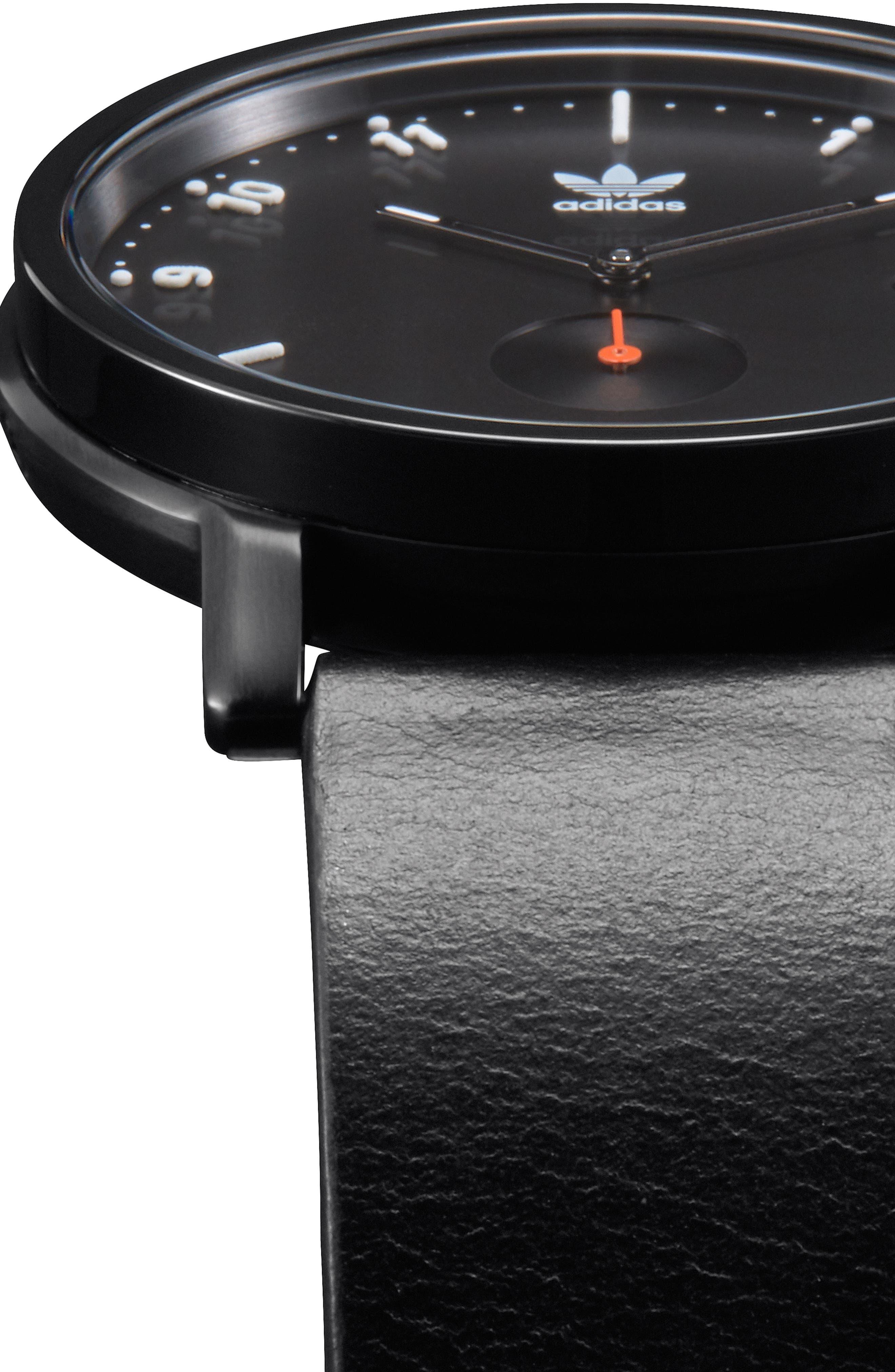 ADIDAS,                             District Leather Strap Watch, 40mm,                             Alternate thumbnail 5, color,                             BLACK/ ORANGE/ BLACK