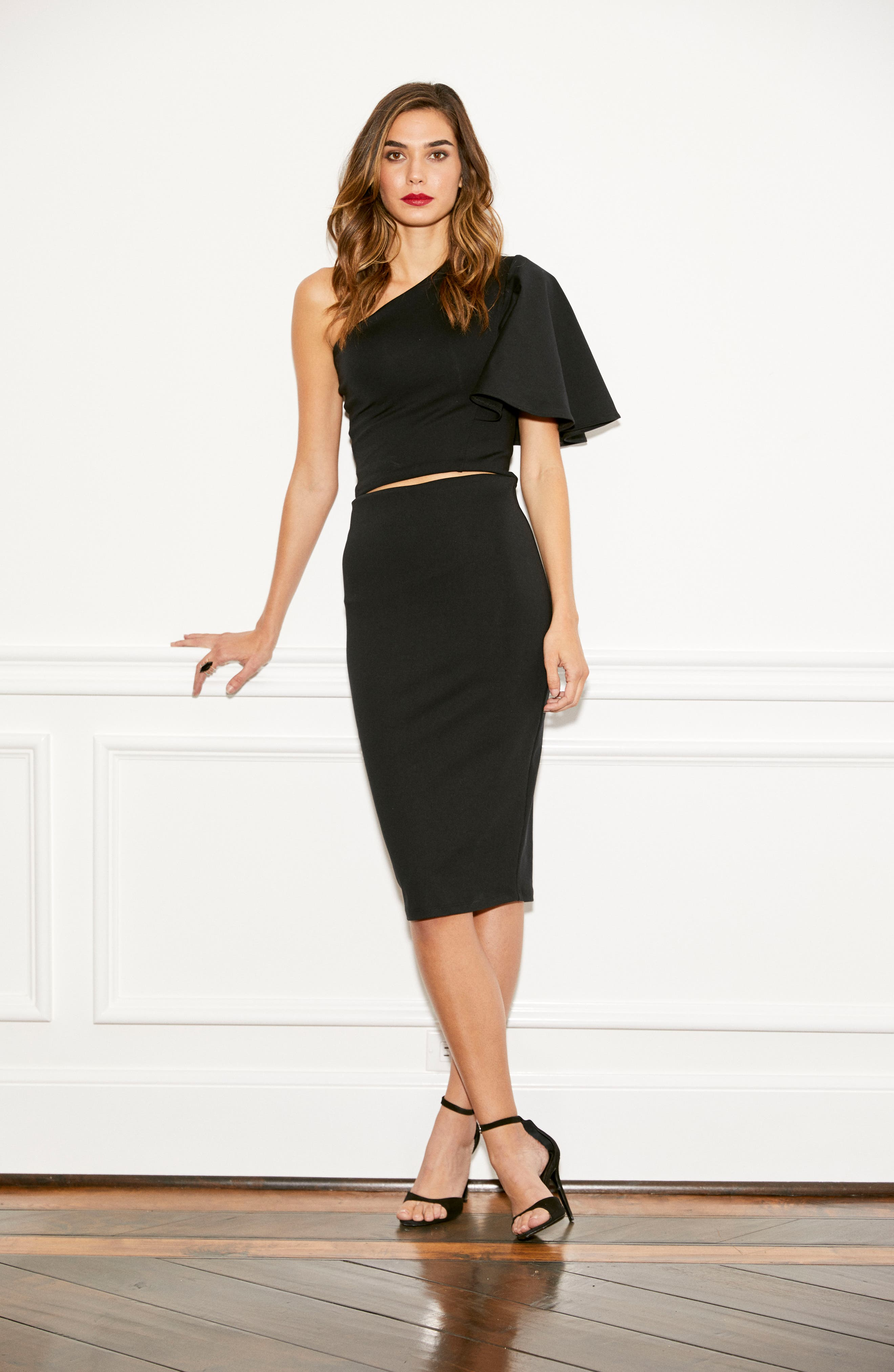 Tube High Rise Pencil Skirt,                             Alternate thumbnail 9, color,                             BLACK