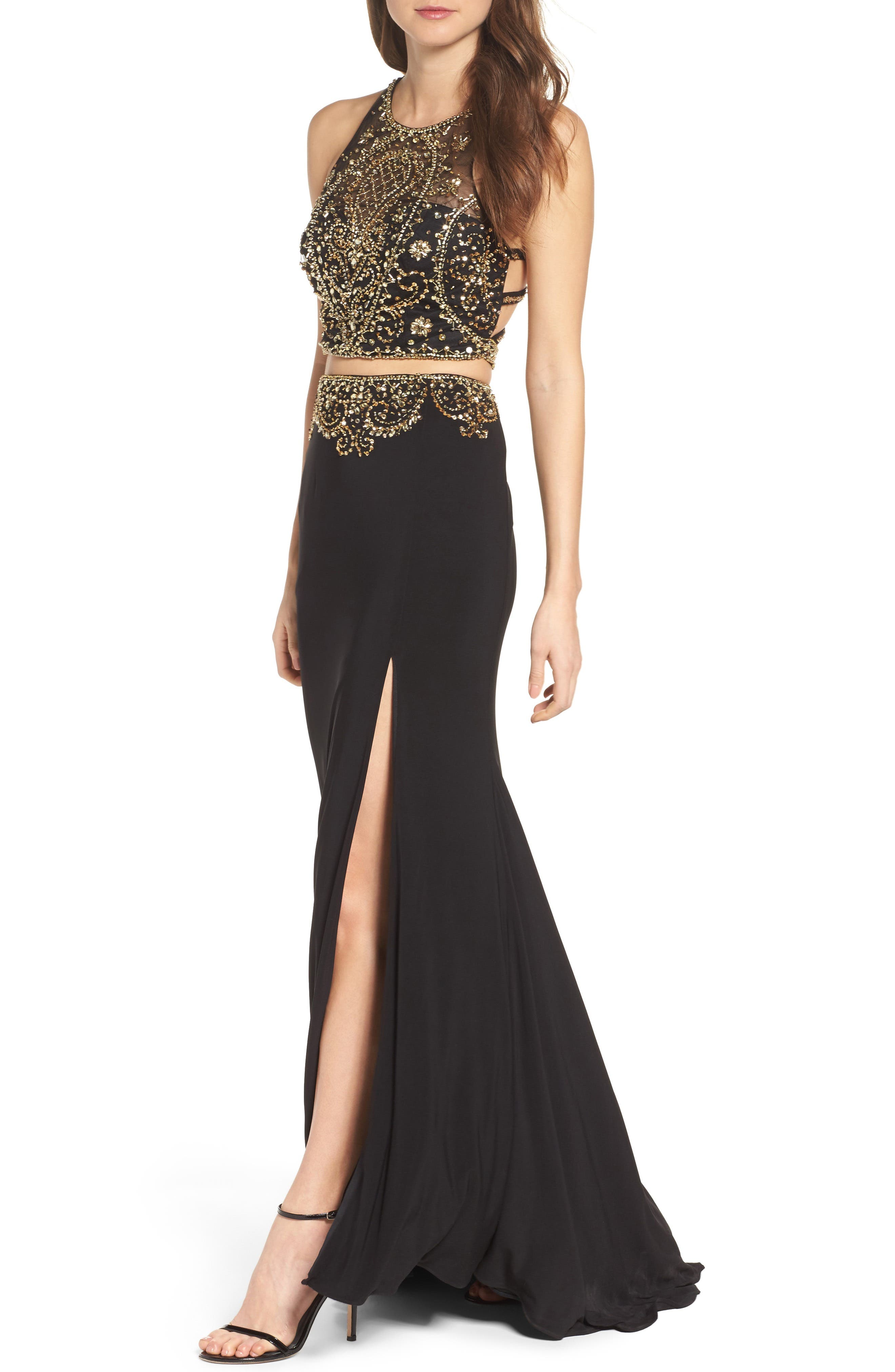 Embellished Two-Piece Gown,                             Alternate thumbnail 4, color,                             001