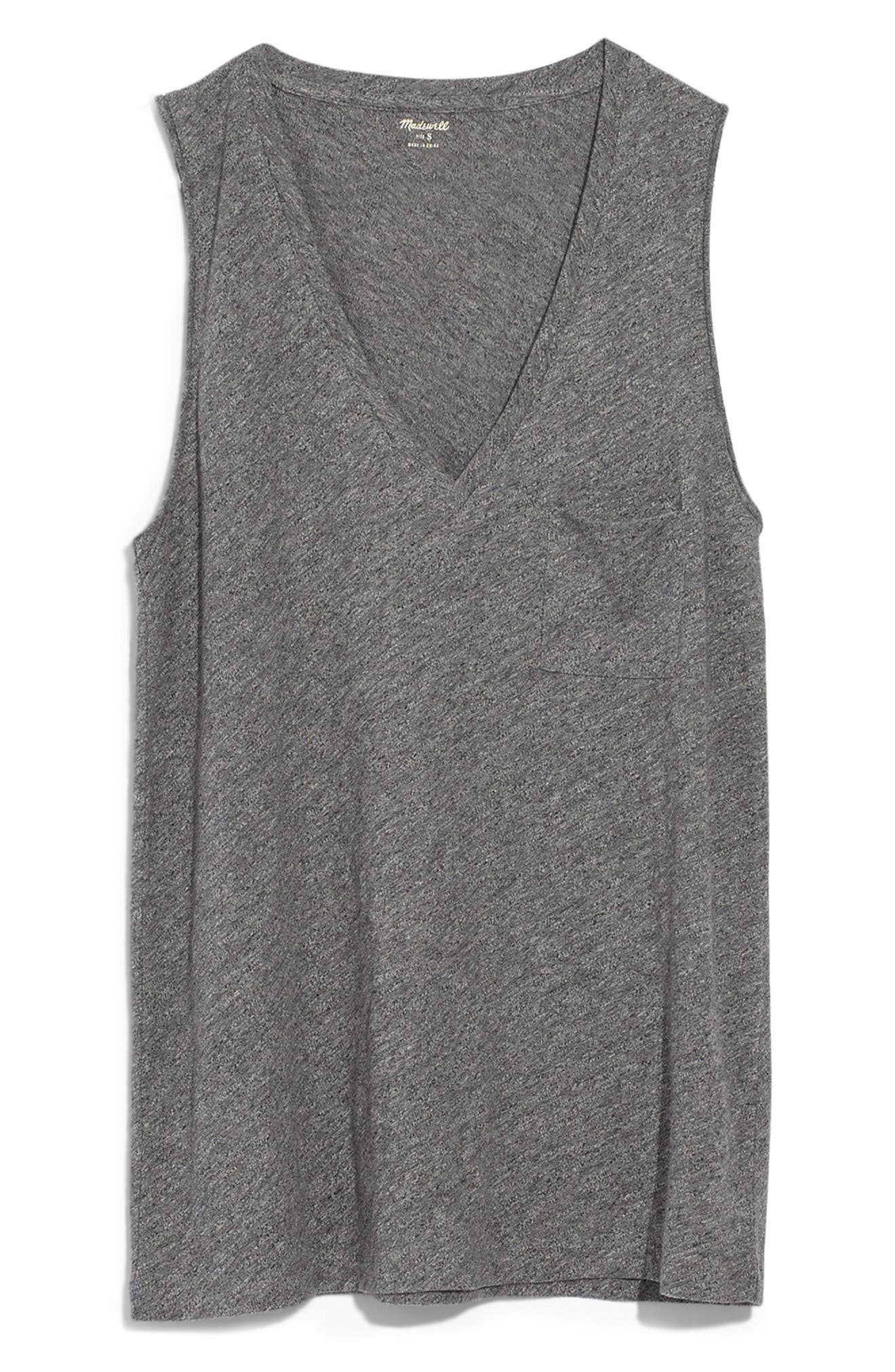 MADEWELL,                             Whisper Cotton V-Neck Tank,                             Main thumbnail 1, color,                             HEATHER MERCURY