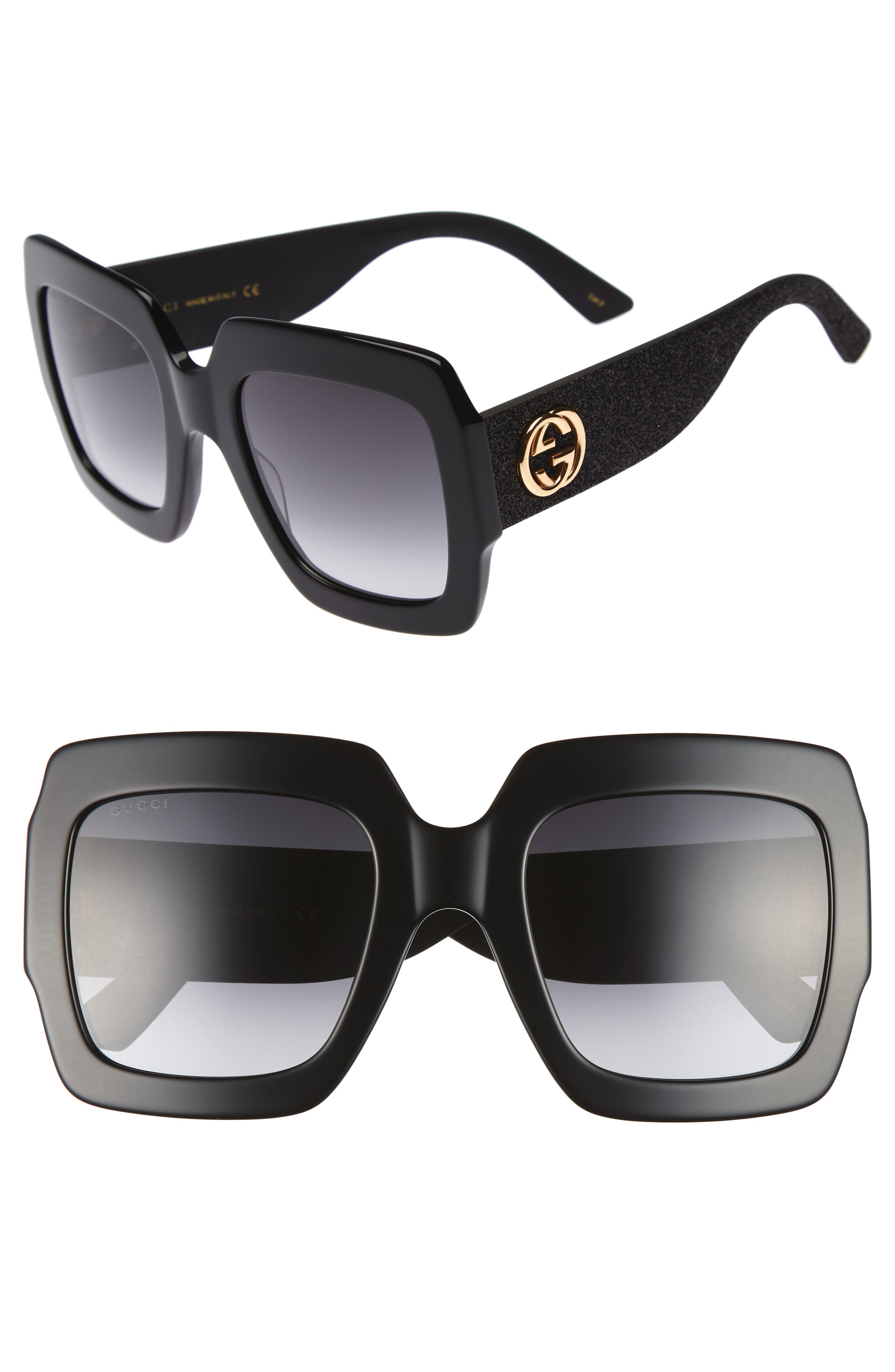 Gucci 5m Square Sunglasses - Black/ Grey