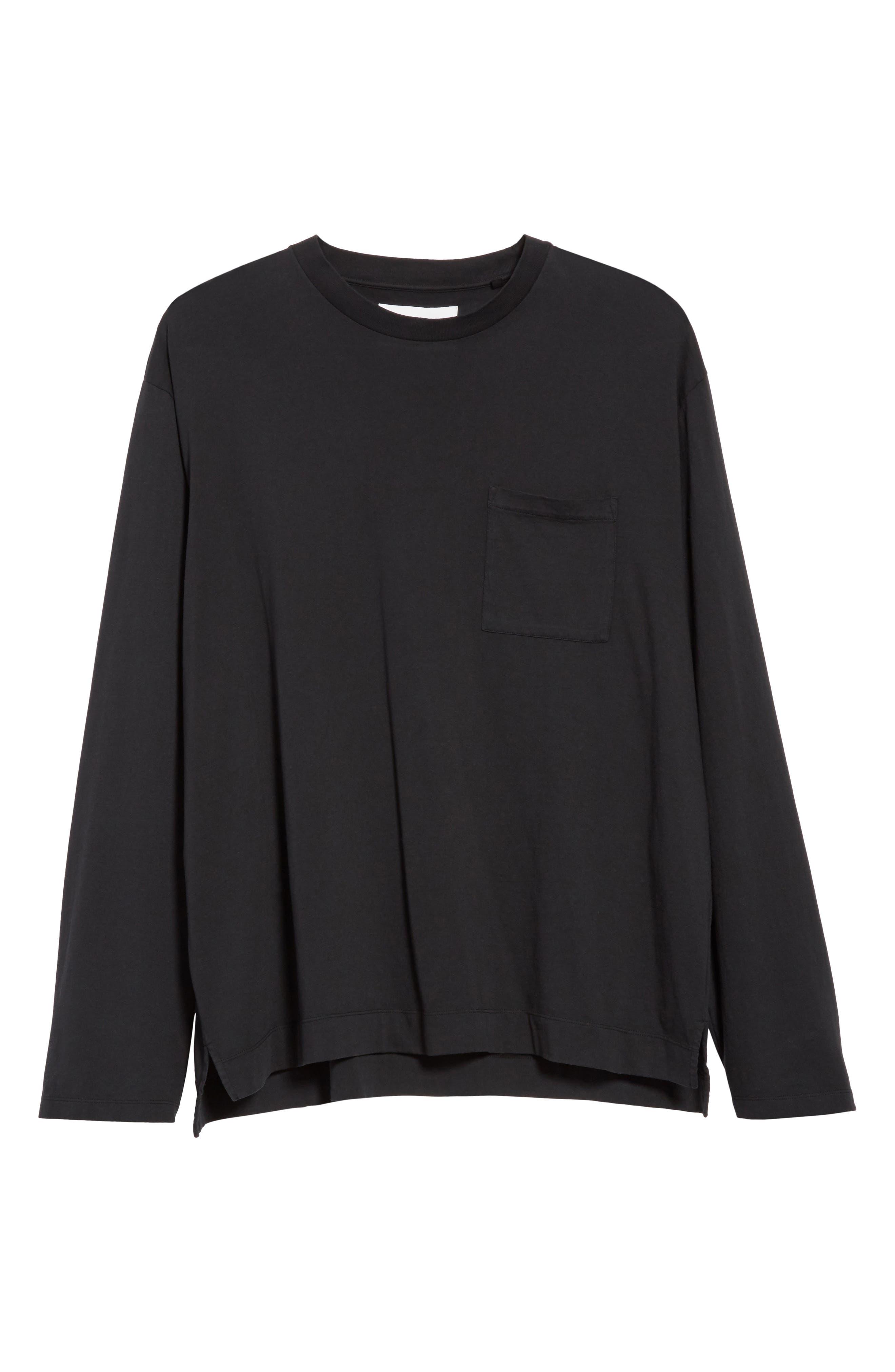 Long Sleeve Pocket T-Shirt,                             Alternate thumbnail 6, color,                             BLACK