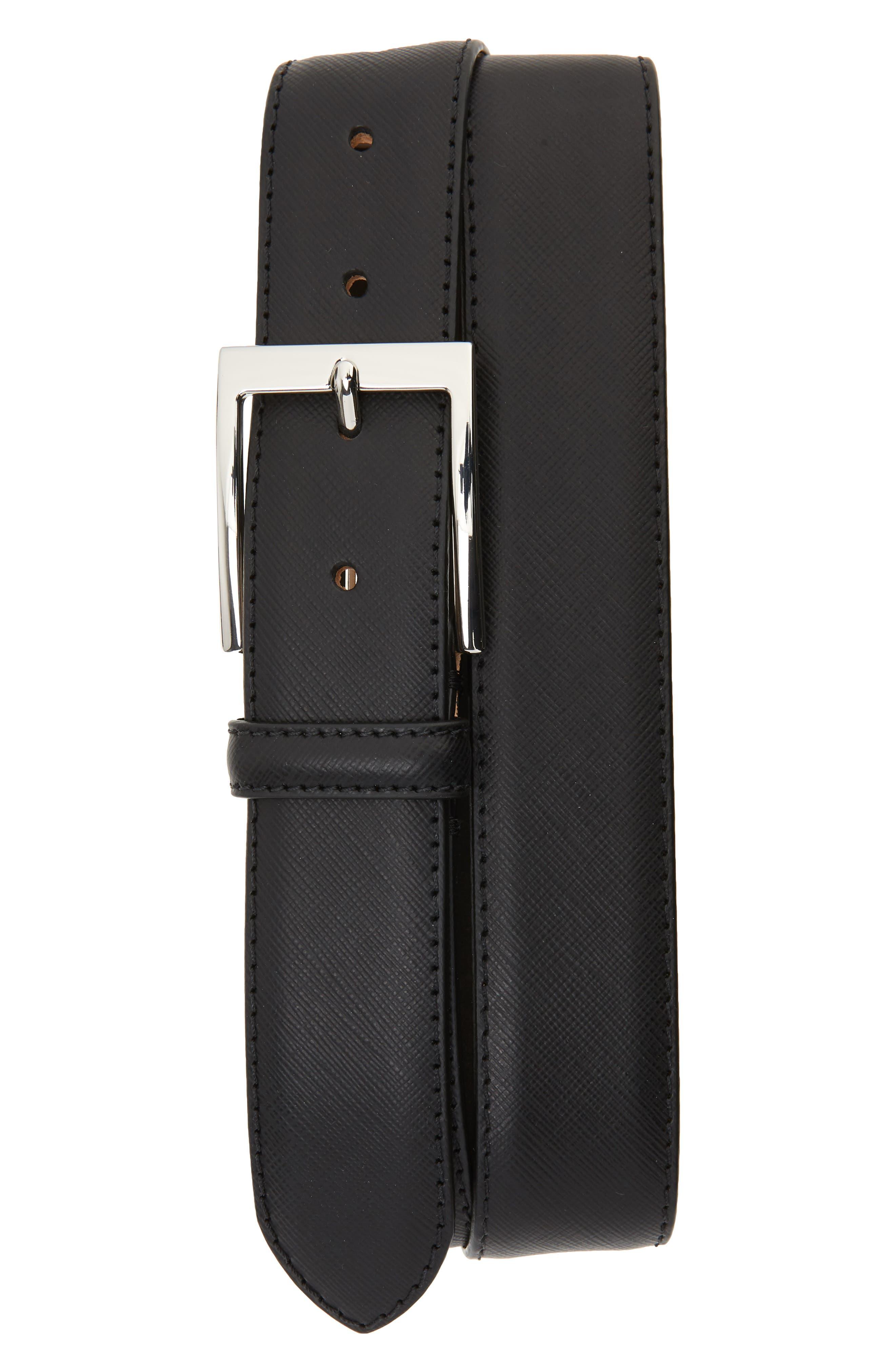 Saffiano Leather Belt,                         Main,                         color, SAFFIANO BLACK