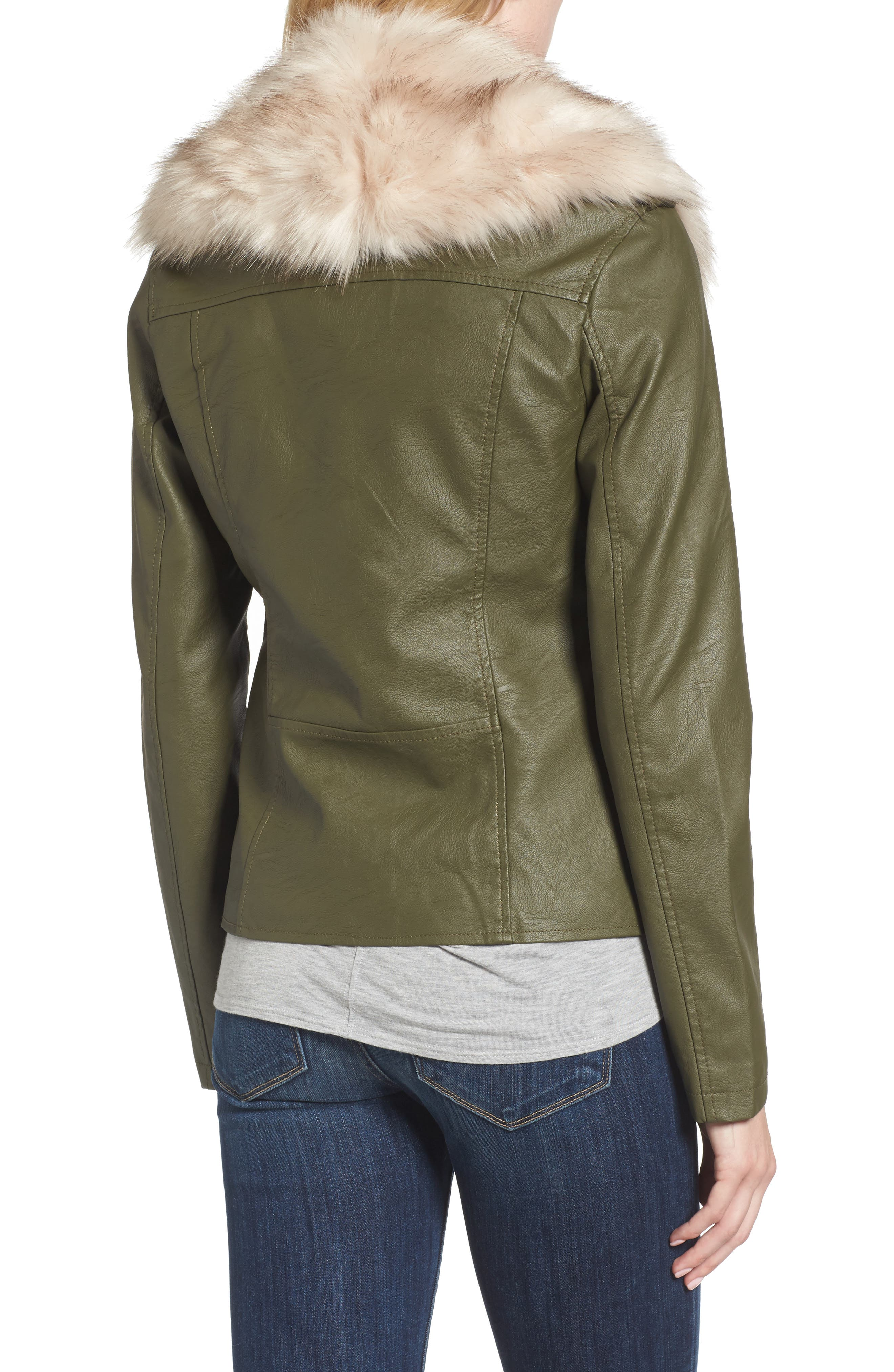 Faux Leather Jacket with Removable Faux Fur Collar,                             Alternate thumbnail 4, color,
