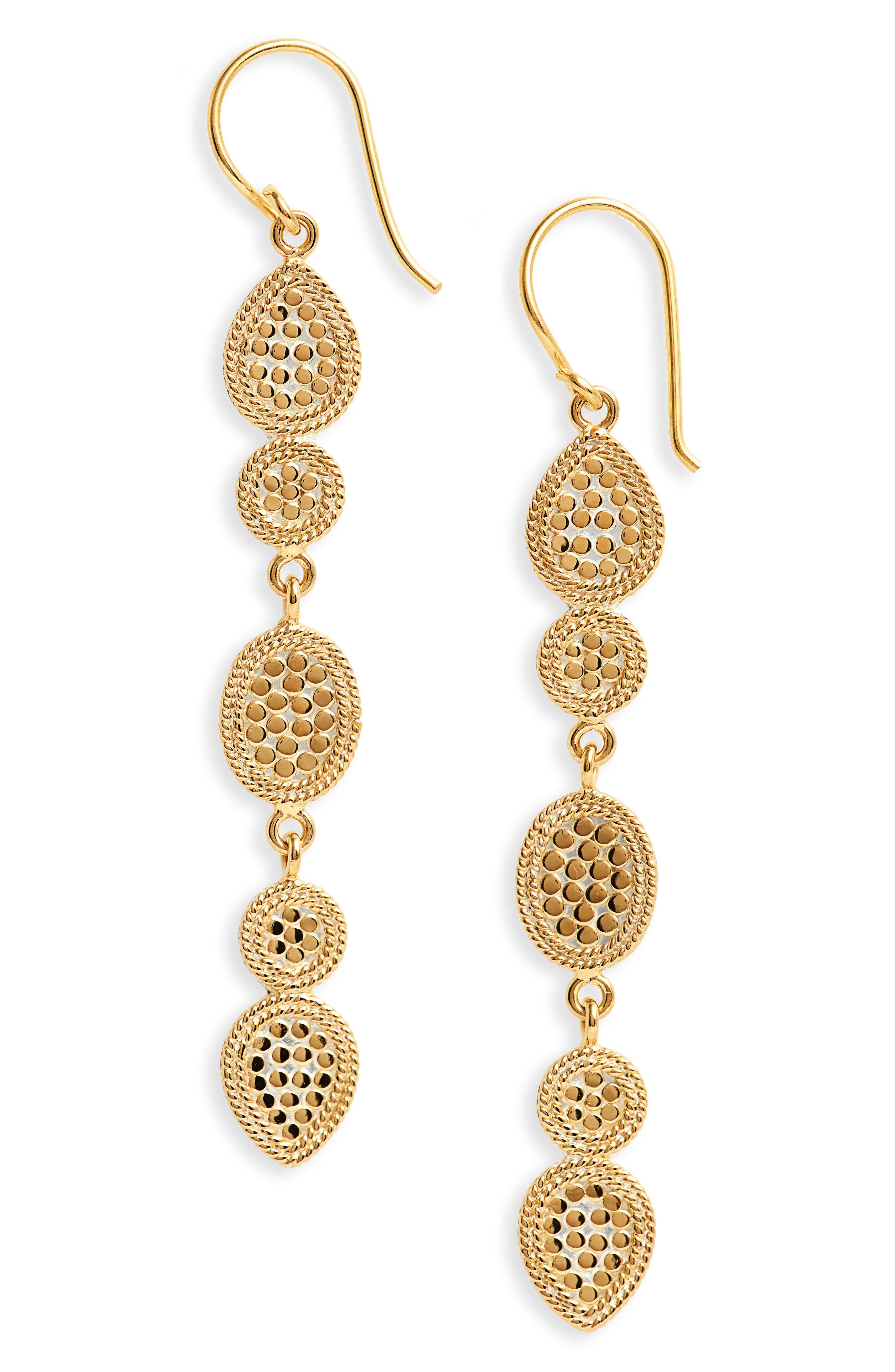 Gold Multidisc Linear Drop Earrings,                         Main,                         color, GOLD