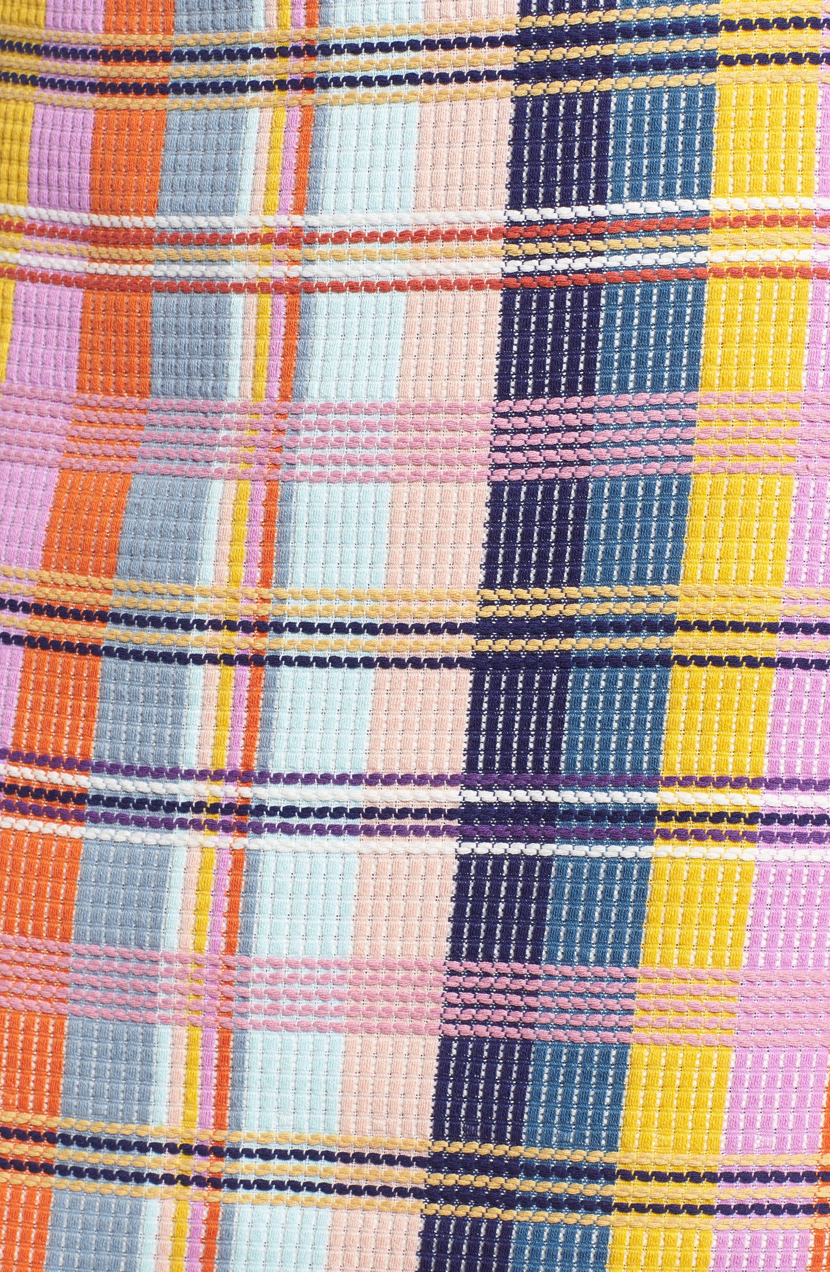 Plaid Tweed Pencil Skirt,                             Alternate thumbnail 5, color,                             BLUE MULTI TWEED