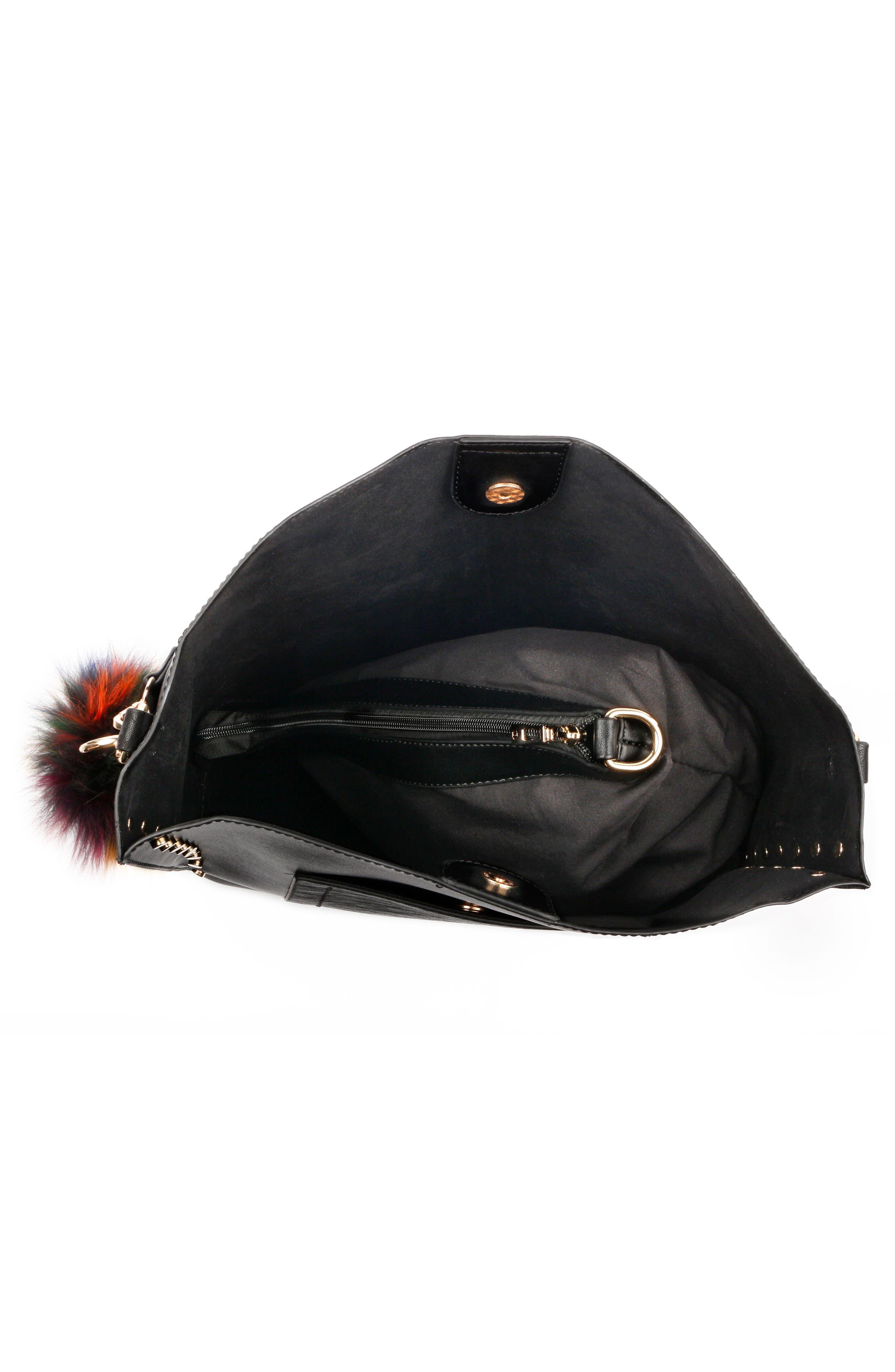 Céline Dion Pizzicato Faux Leather Hobo Bag,                             Alternate thumbnail 3, color,                             001