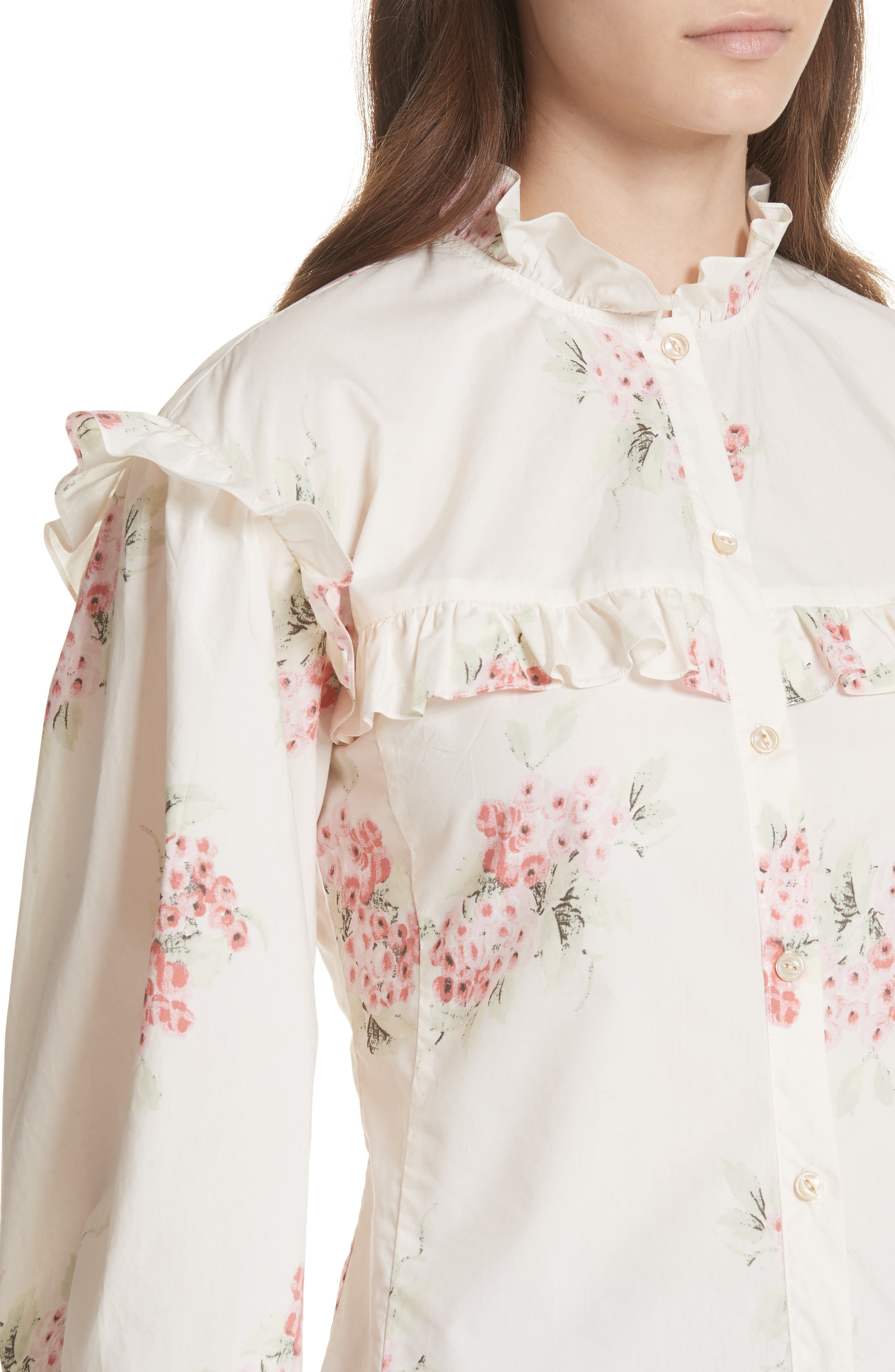 Maia Ruffled Floral Top,                             Alternate thumbnail 4, color,                             901
