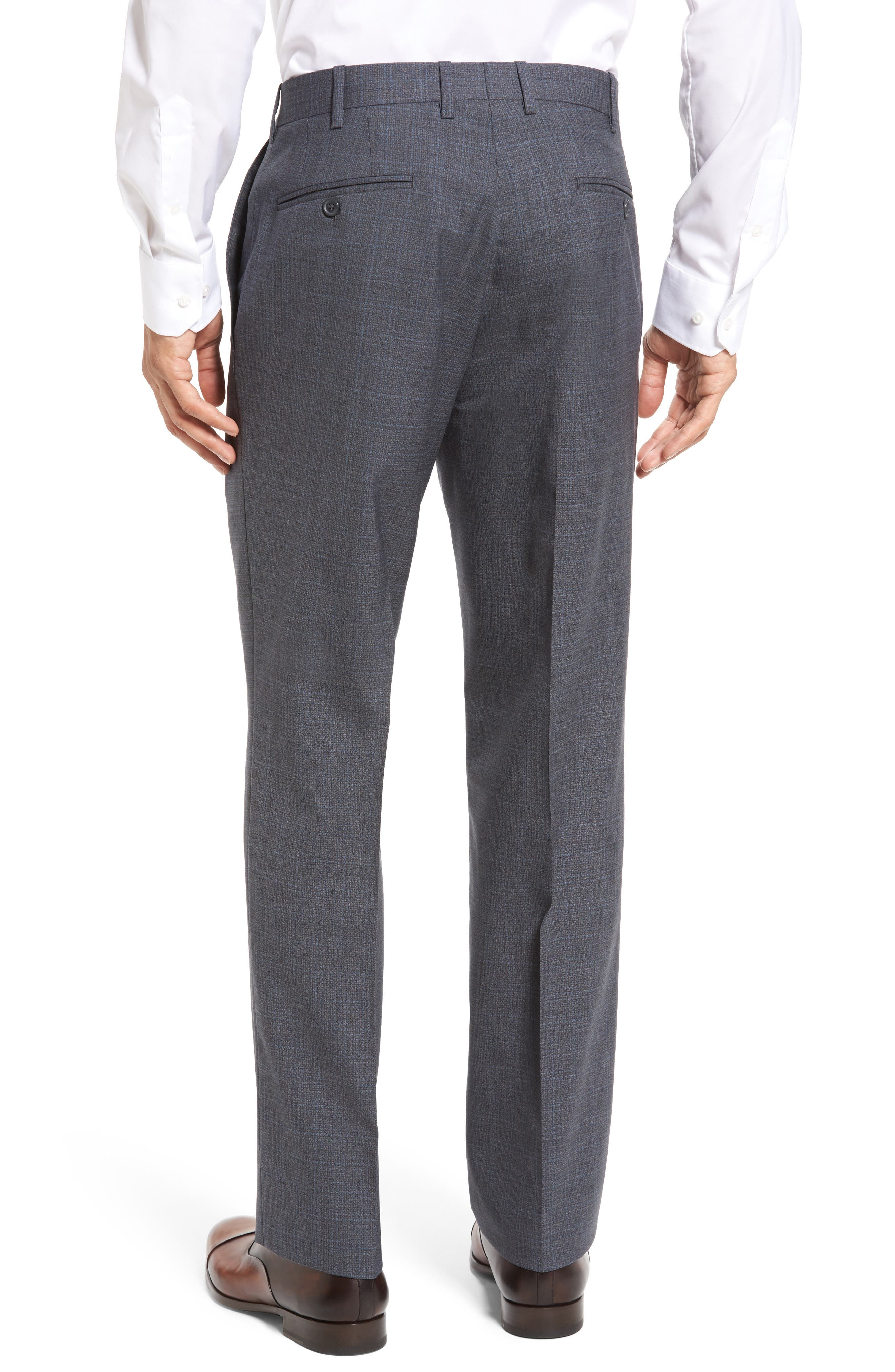 Flat Front Plaid Wool Trousers,                             Alternate thumbnail 8, color,