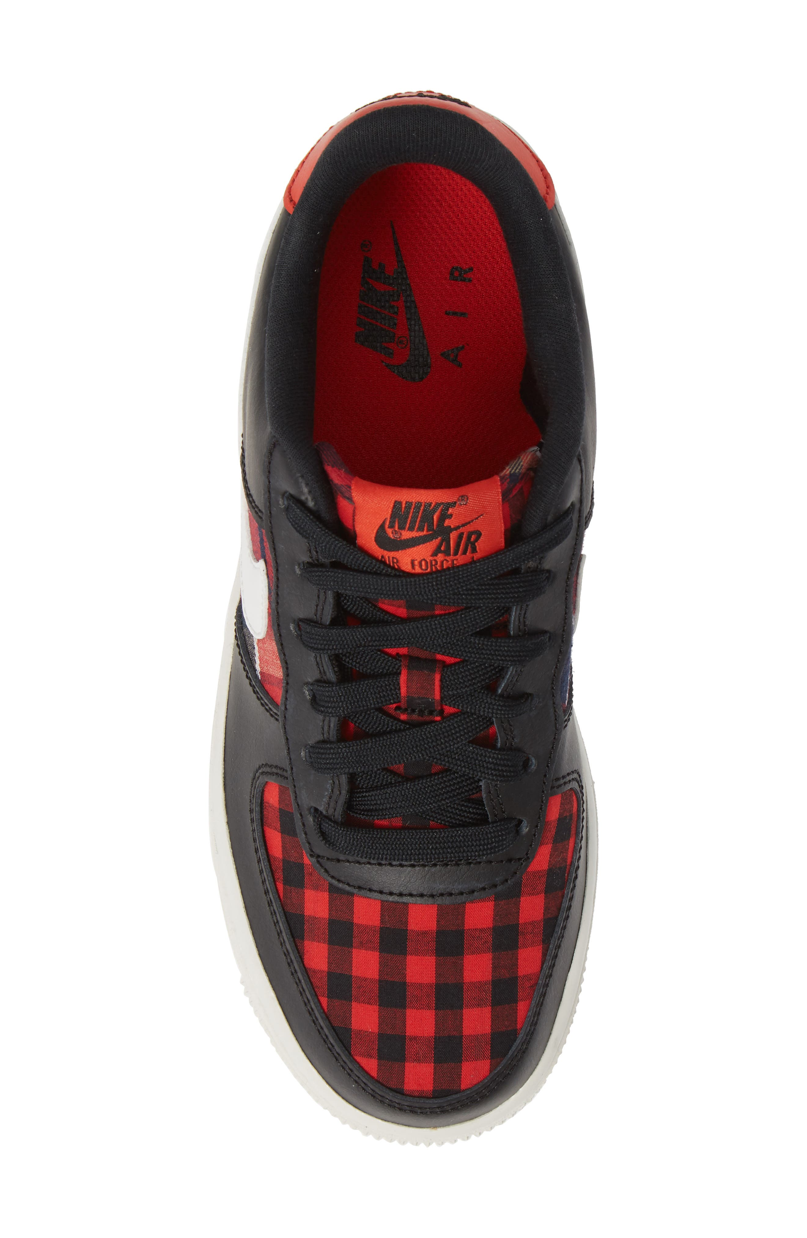 Air Force 1 LV8 Sneaker,                             Alternate thumbnail 5, color,                             BLACK/ SUMMIT RED