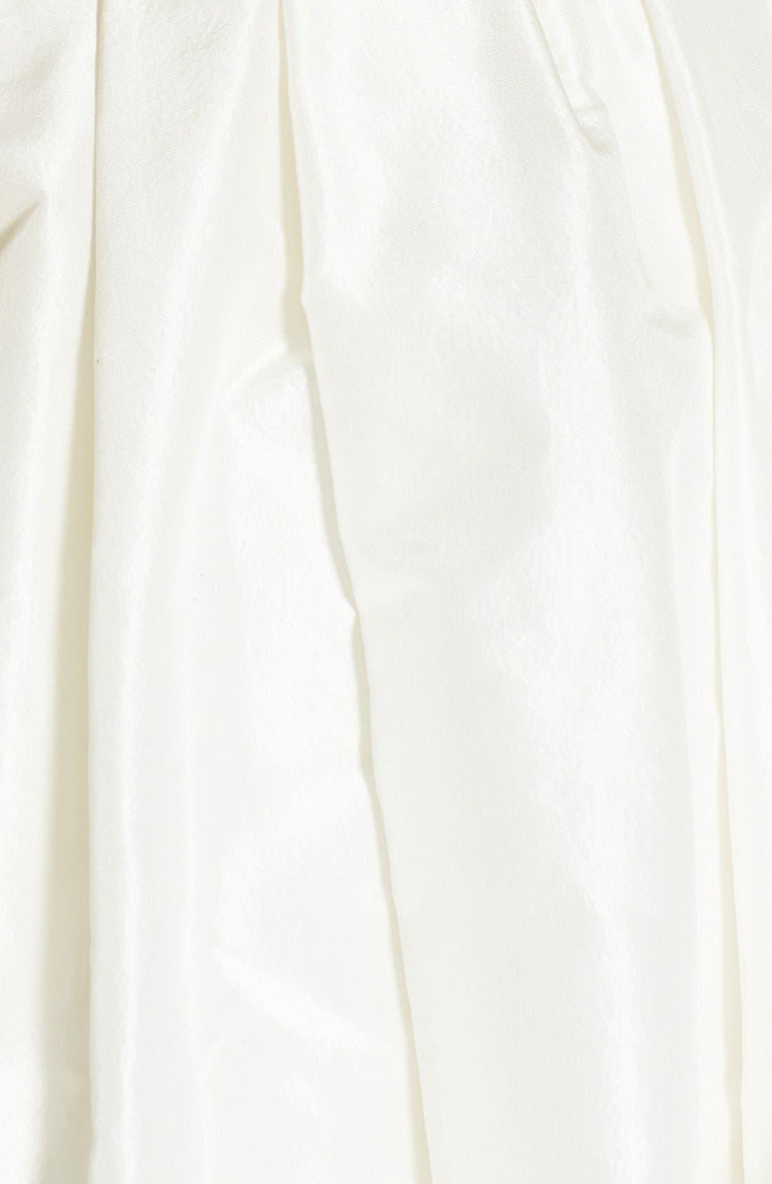 Cameron Lace Appliqué Corset Bodice Silk Taffeta Dress,                             Alternate thumbnail 4, color,