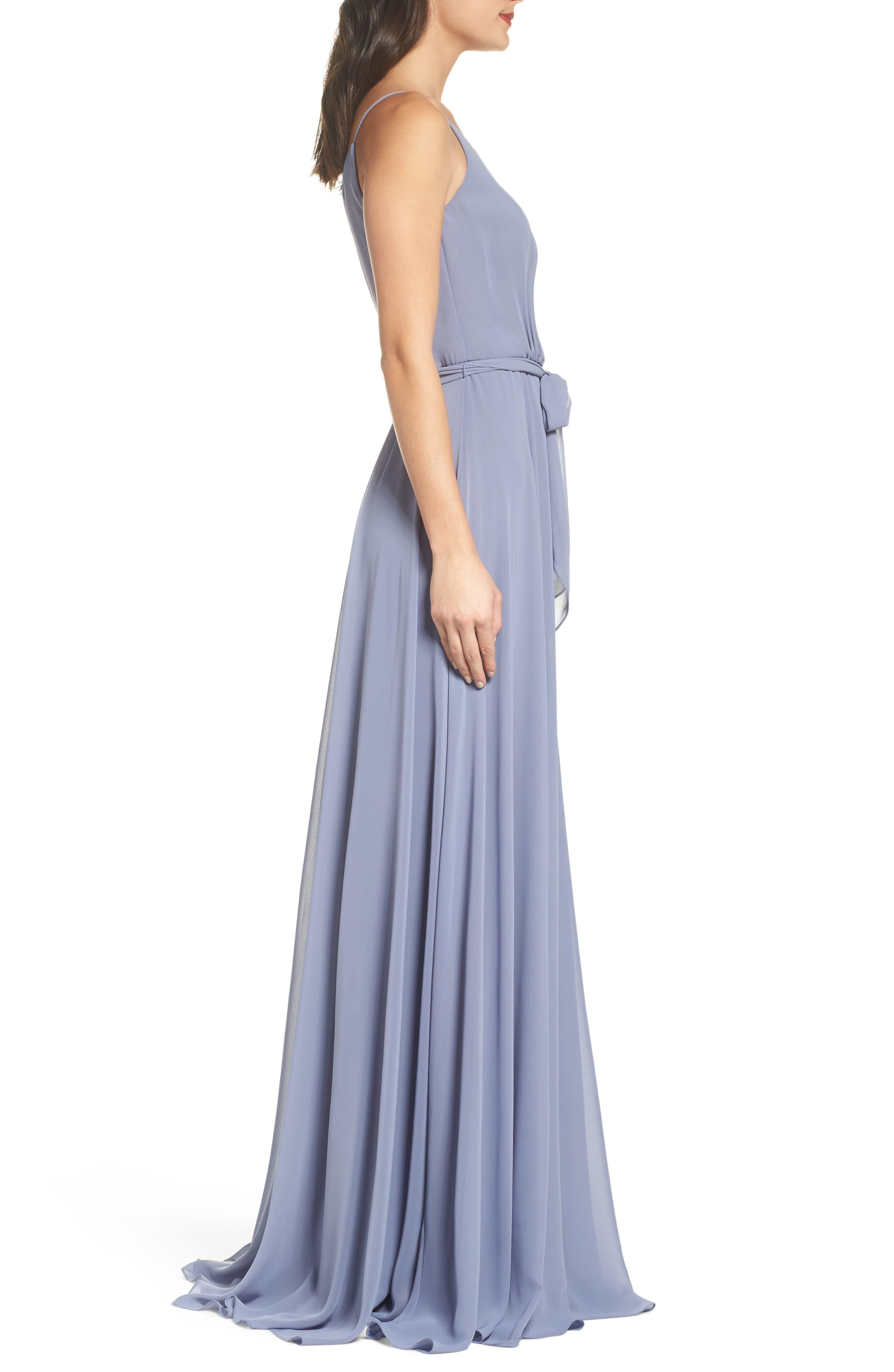 One-Shoulder Chiffon A-Line Gown,                             Alternate thumbnail 3, color,                             020