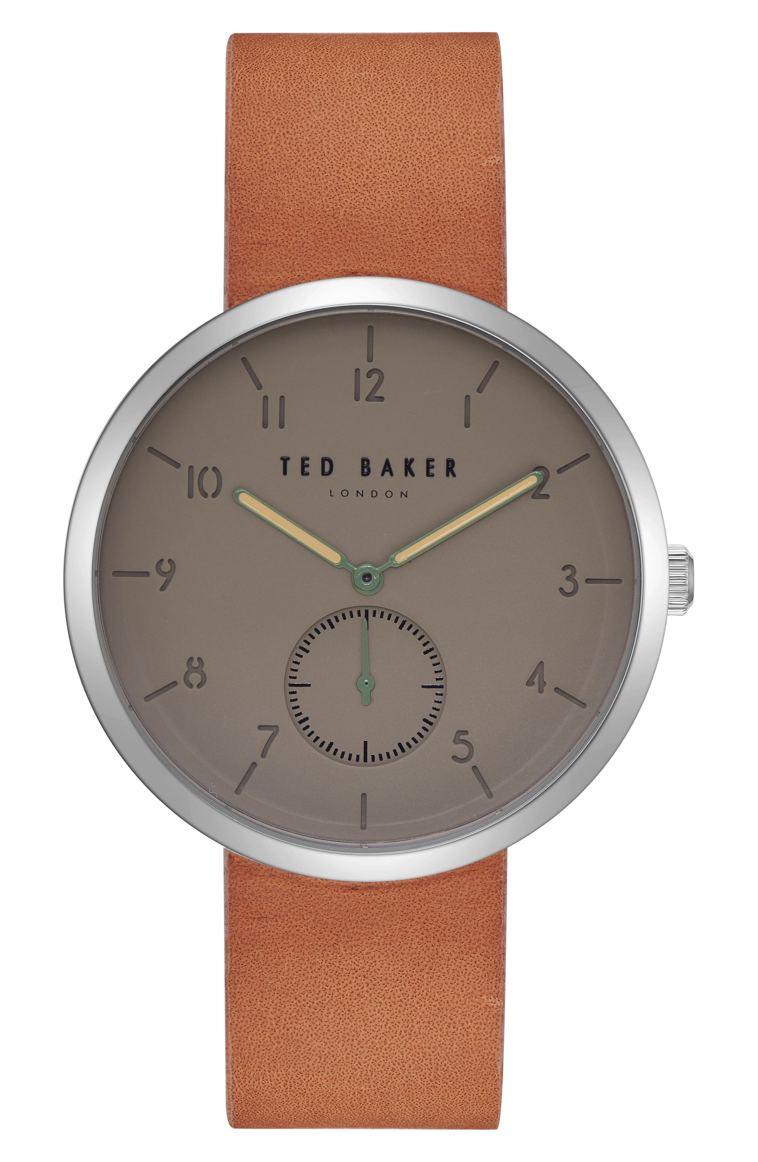 Josh Leather Strap Watch, 42mm,                         Main,                         color, 204