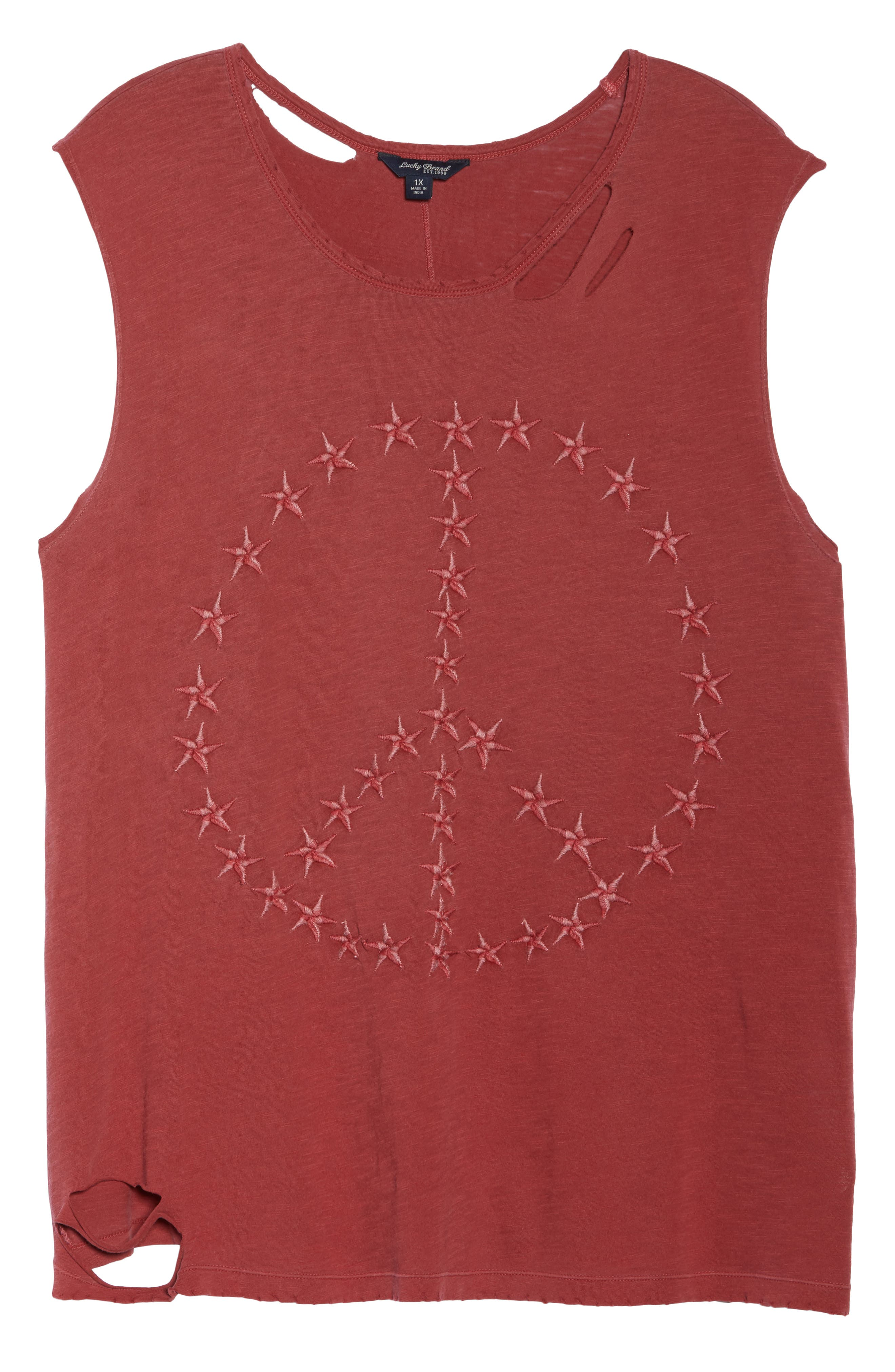 Embroidered Peace Sign Destroyed Tank,                             Alternate thumbnail 7, color,                             ROSEWOOD