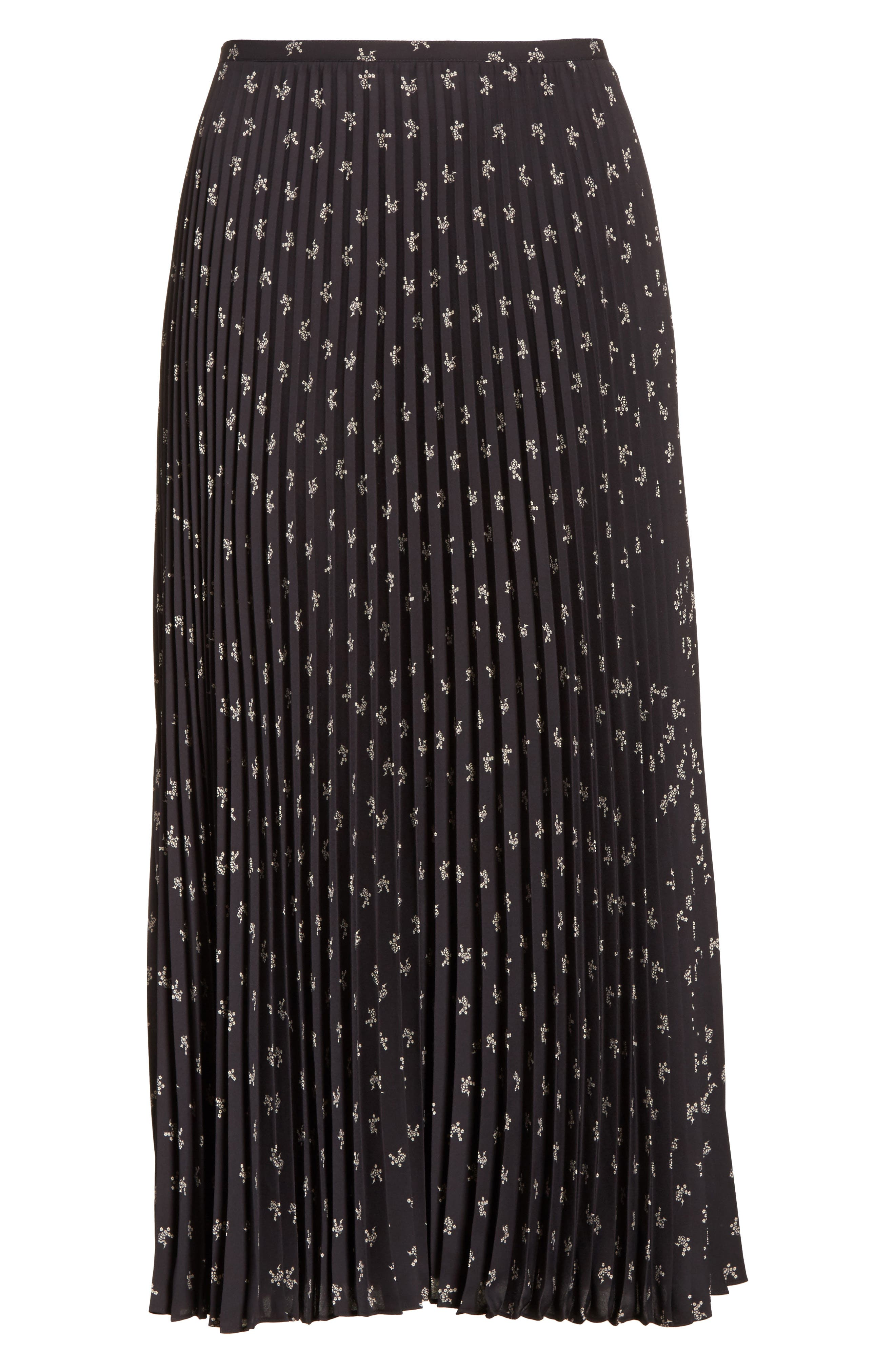 Tossed Ditsy Floral Pleated Skirt,                             Alternate thumbnail 6, color,                             008