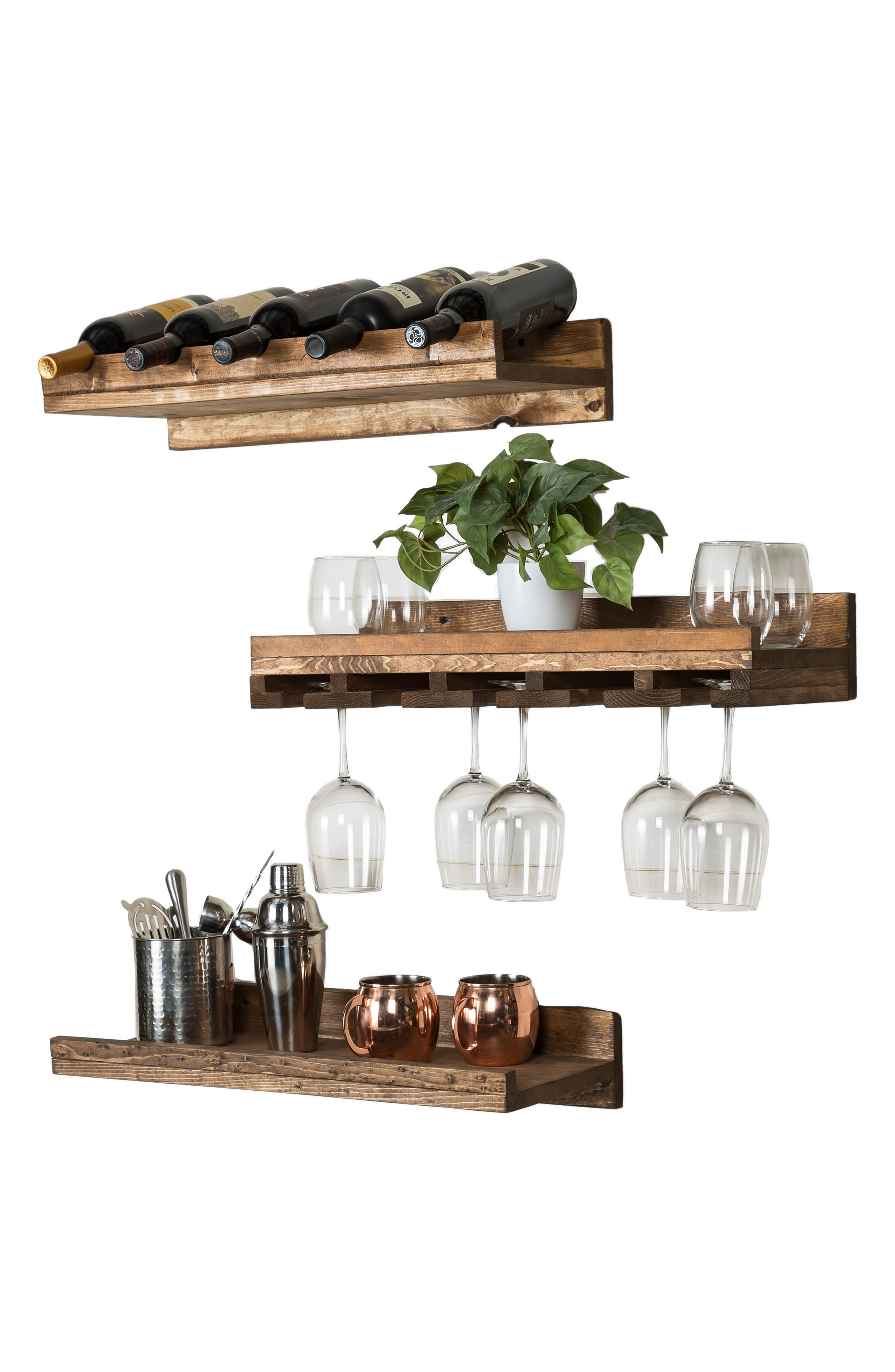Set of 3 Pine Wood Wine Racks,                             Alternate thumbnail 8, color,                             200