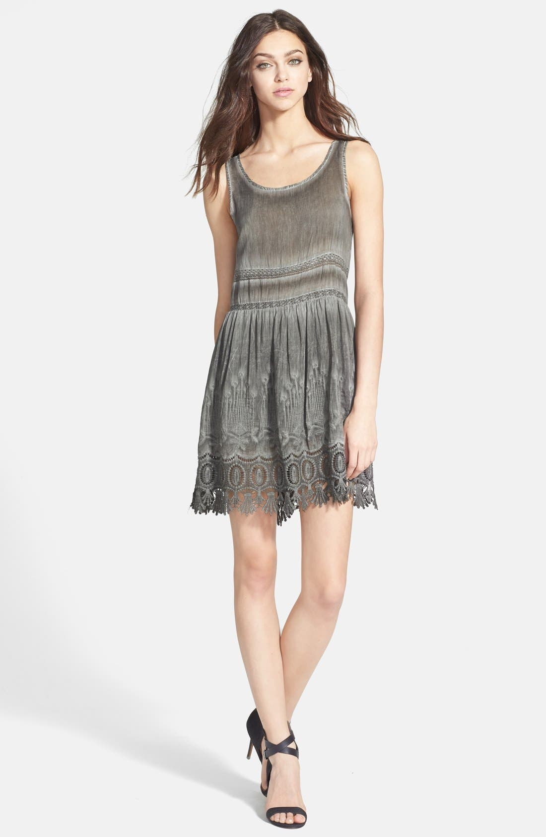 Embroidered & Lace Embellished Babydoll Dress,                             Alternate thumbnail 2, color,                             050