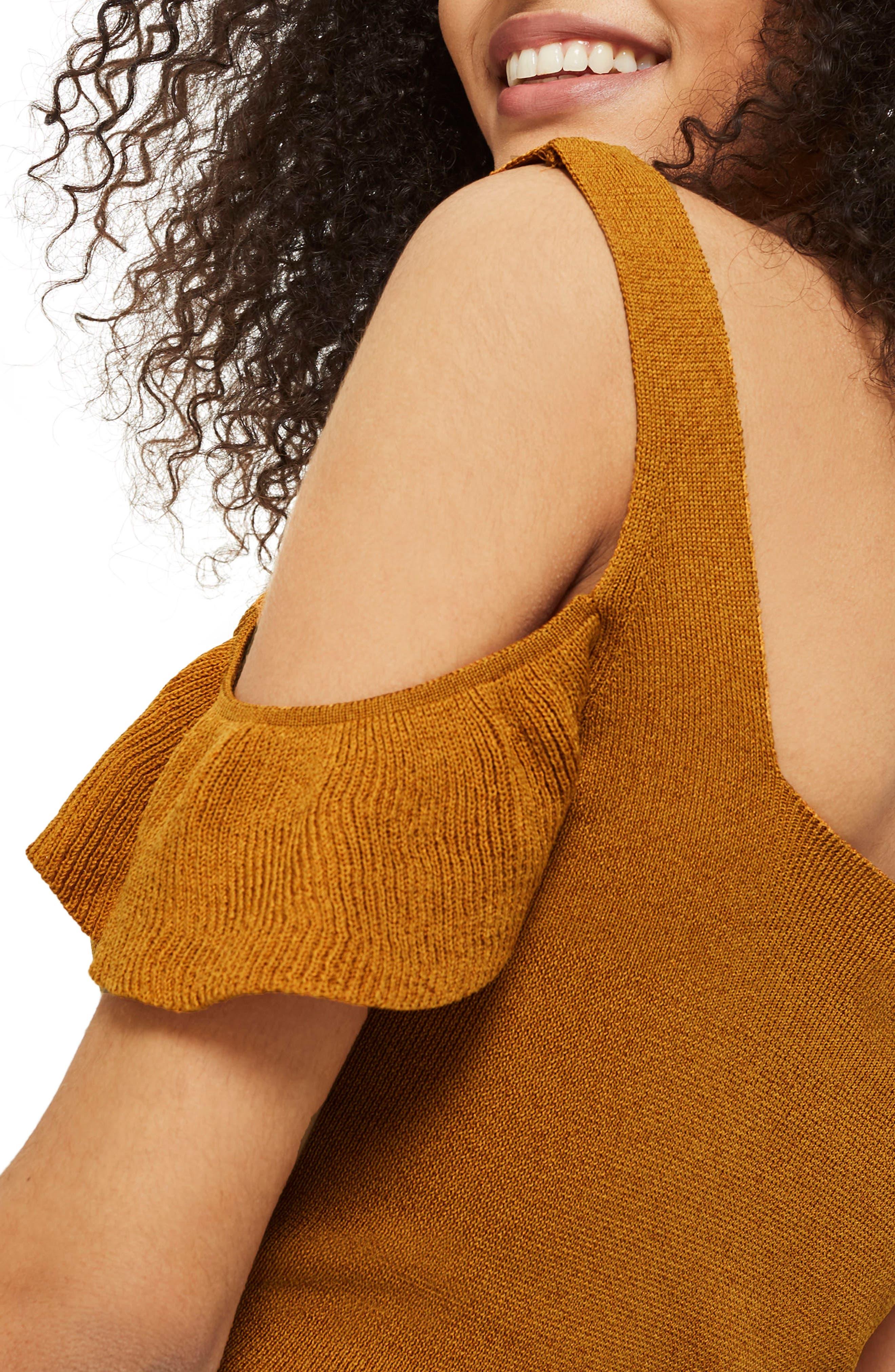 Ruffle Cold Shoulder Knit Top,                             Alternate thumbnail 9, color,