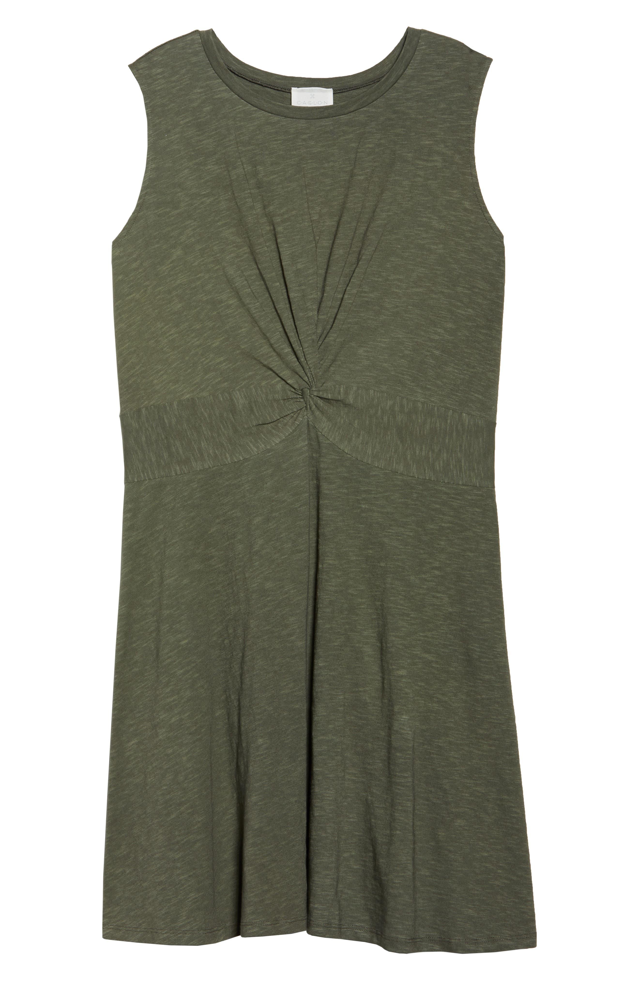 Twist Front Knit Dress,                             Alternate thumbnail 6, color,                             OLIVE SARMA