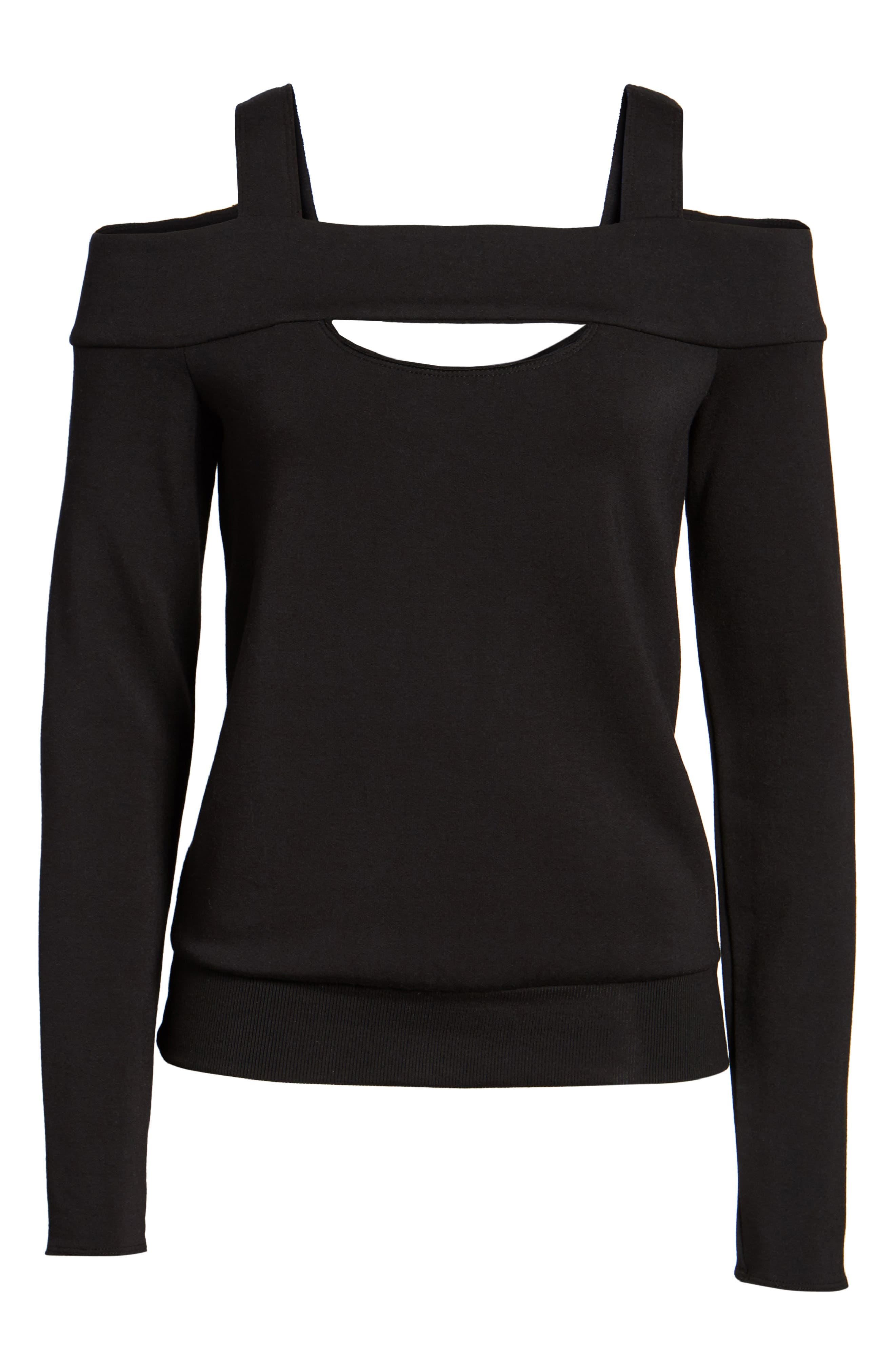 Ground Swell Cold Shoulder Sweatshirt,                             Alternate thumbnail 6, color,                             001