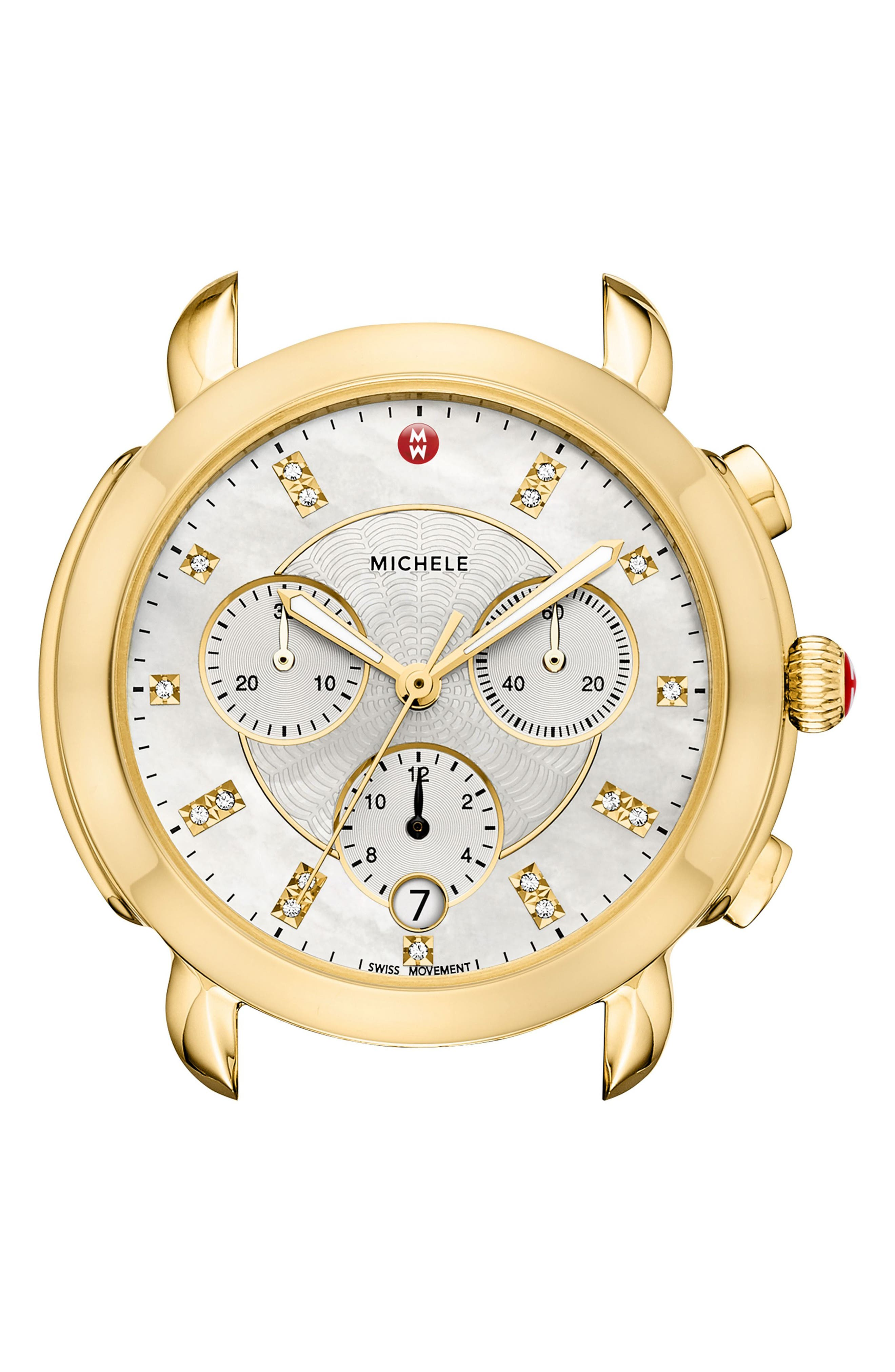 Sidney Chronograph Diamond Watch Head, 38mm,                             Alternate thumbnail 2, color,                             GOLD/ MOP