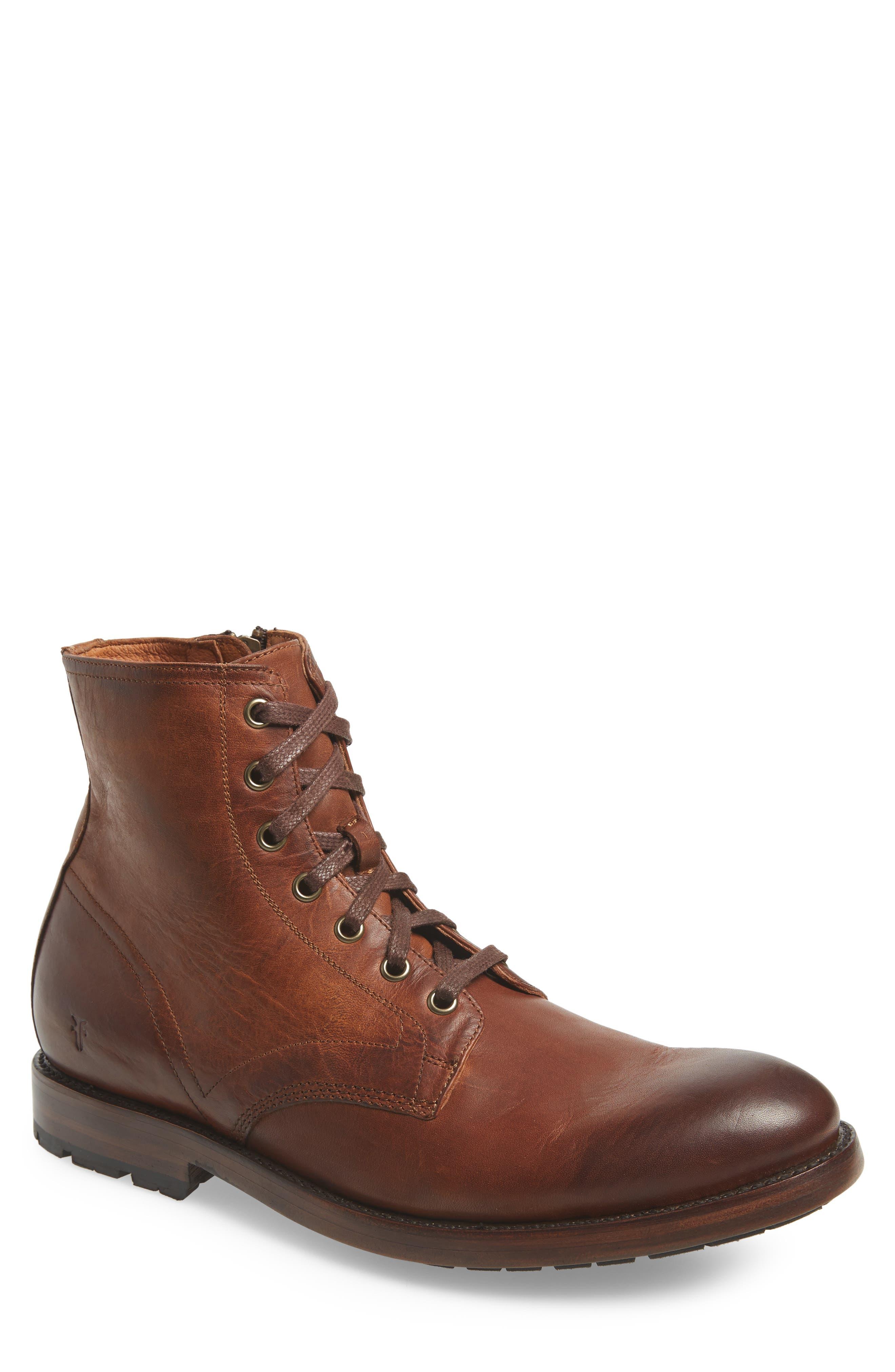 Bowery Plain Toe Boot,                             Main thumbnail 1, color,                             COGNAC