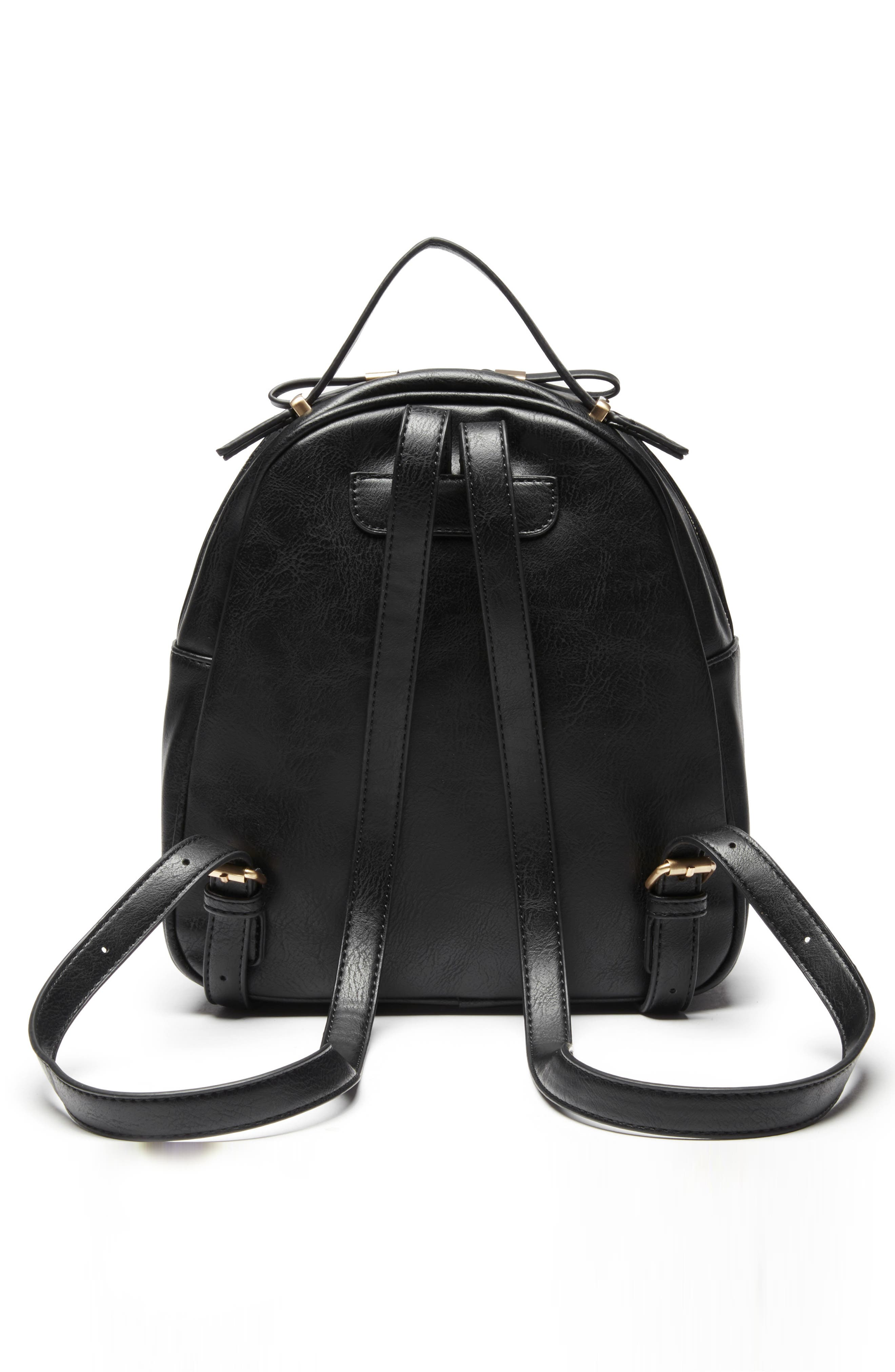 Zypa Faux Leather Backpack,                             Alternate thumbnail 3, color,                             BLACK