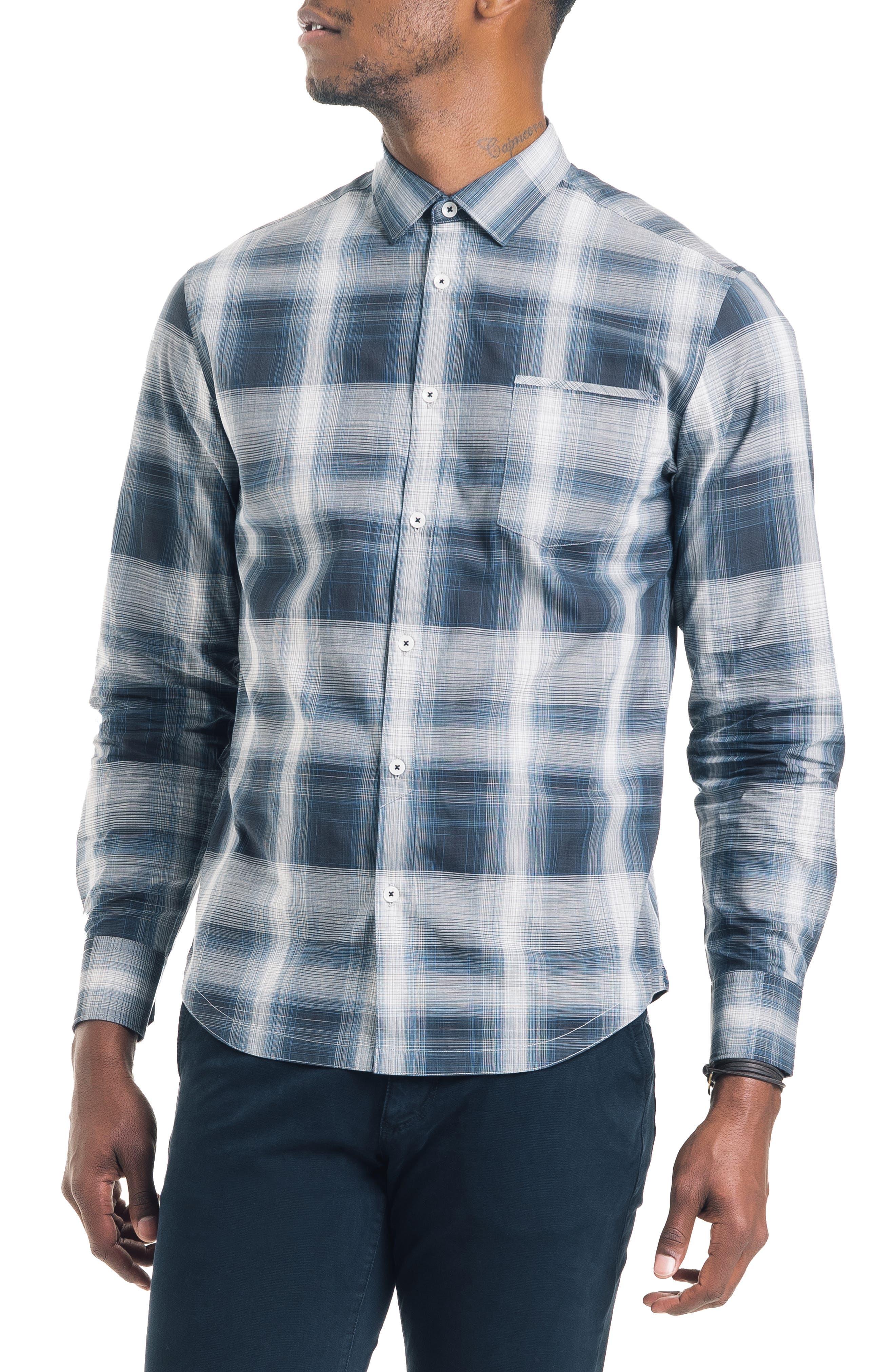 Bonsai Slim Fit Sport Shirt,                         Main,                         color, NAVY
