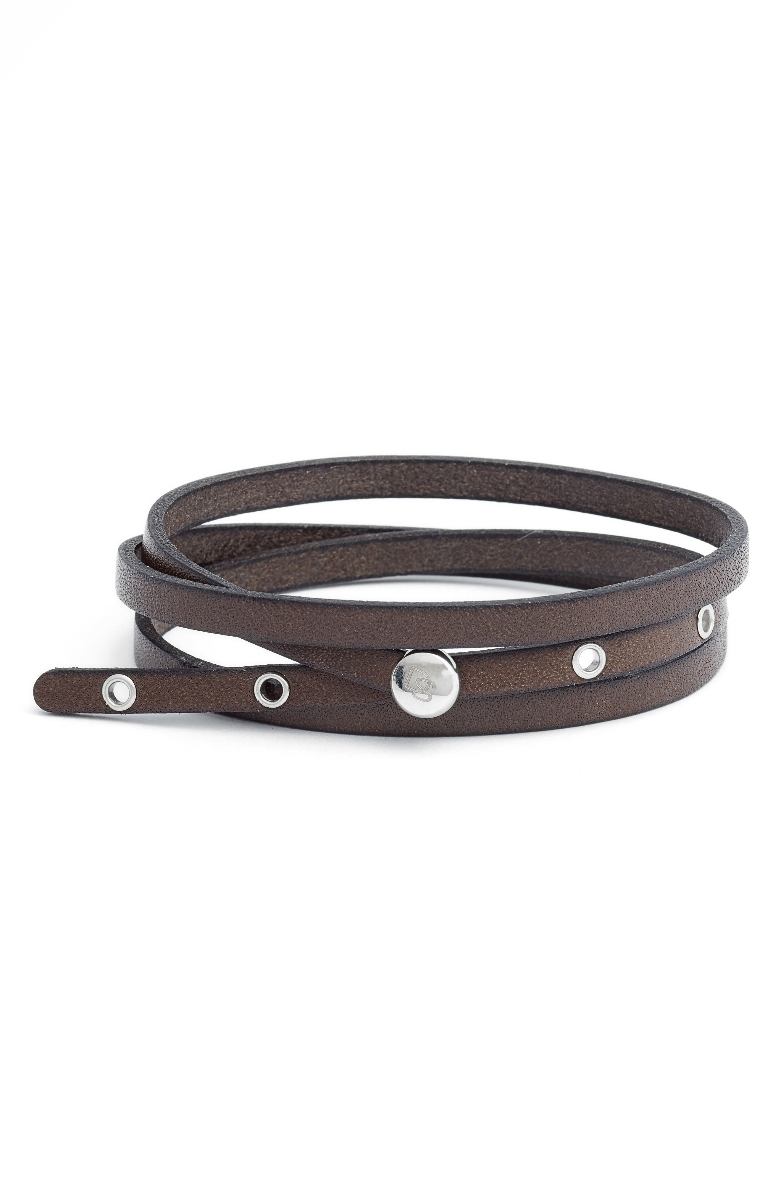 Leather Wrap Bracelet,                         Main,                         color, BROWN