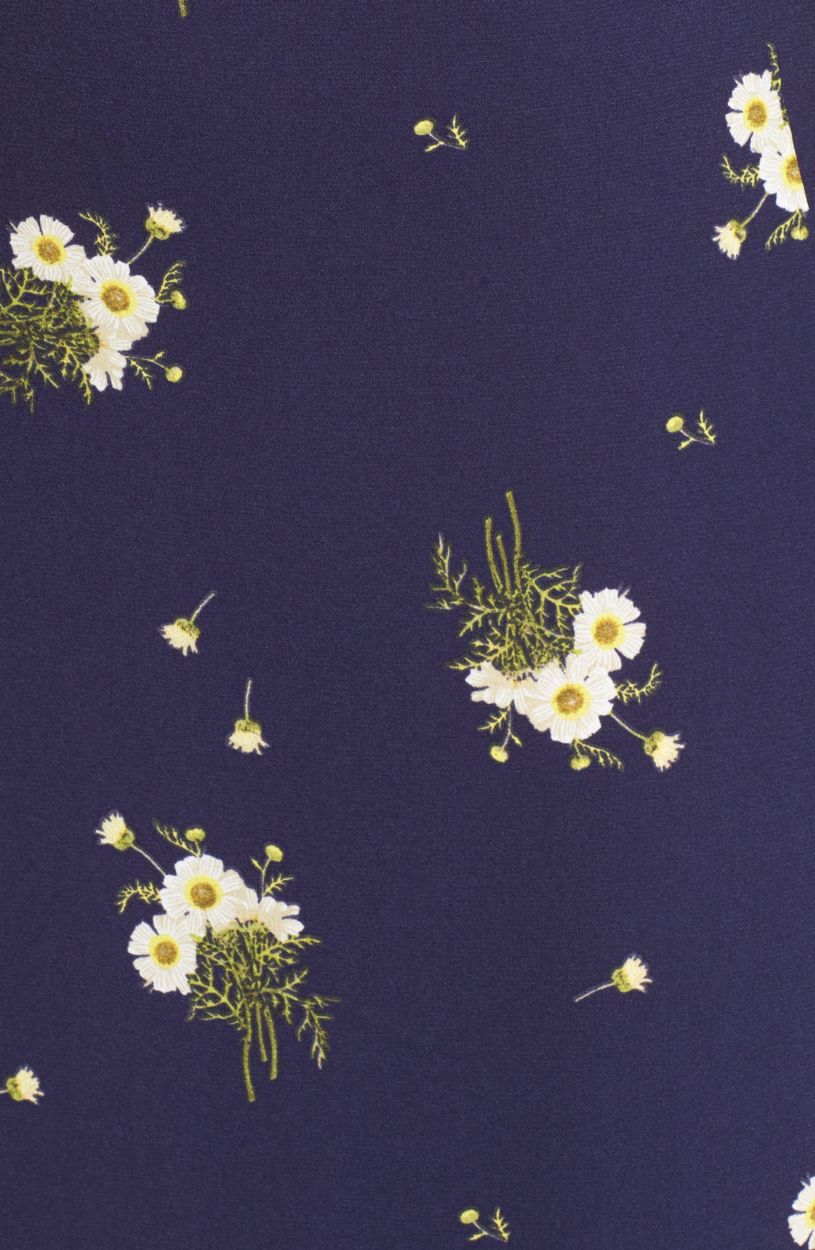 BP.,                             Ruffle Trim Floral Print Midi Dress,                             Alternate thumbnail 12, color,                             NAVY EVENING DAISY