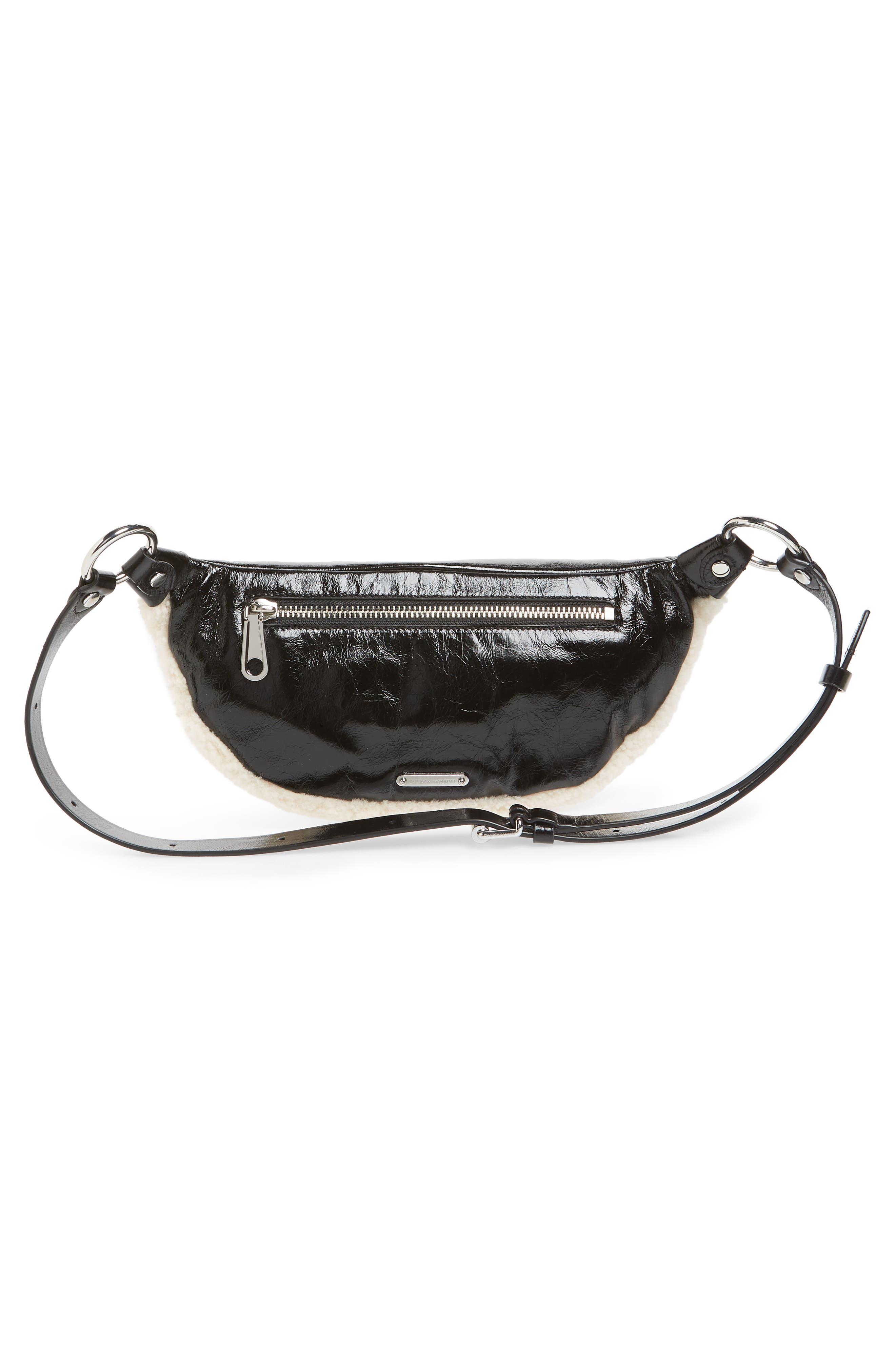 Genuine Shearling Belt Bag,                             Alternate thumbnail 4, color,                             NATURAL