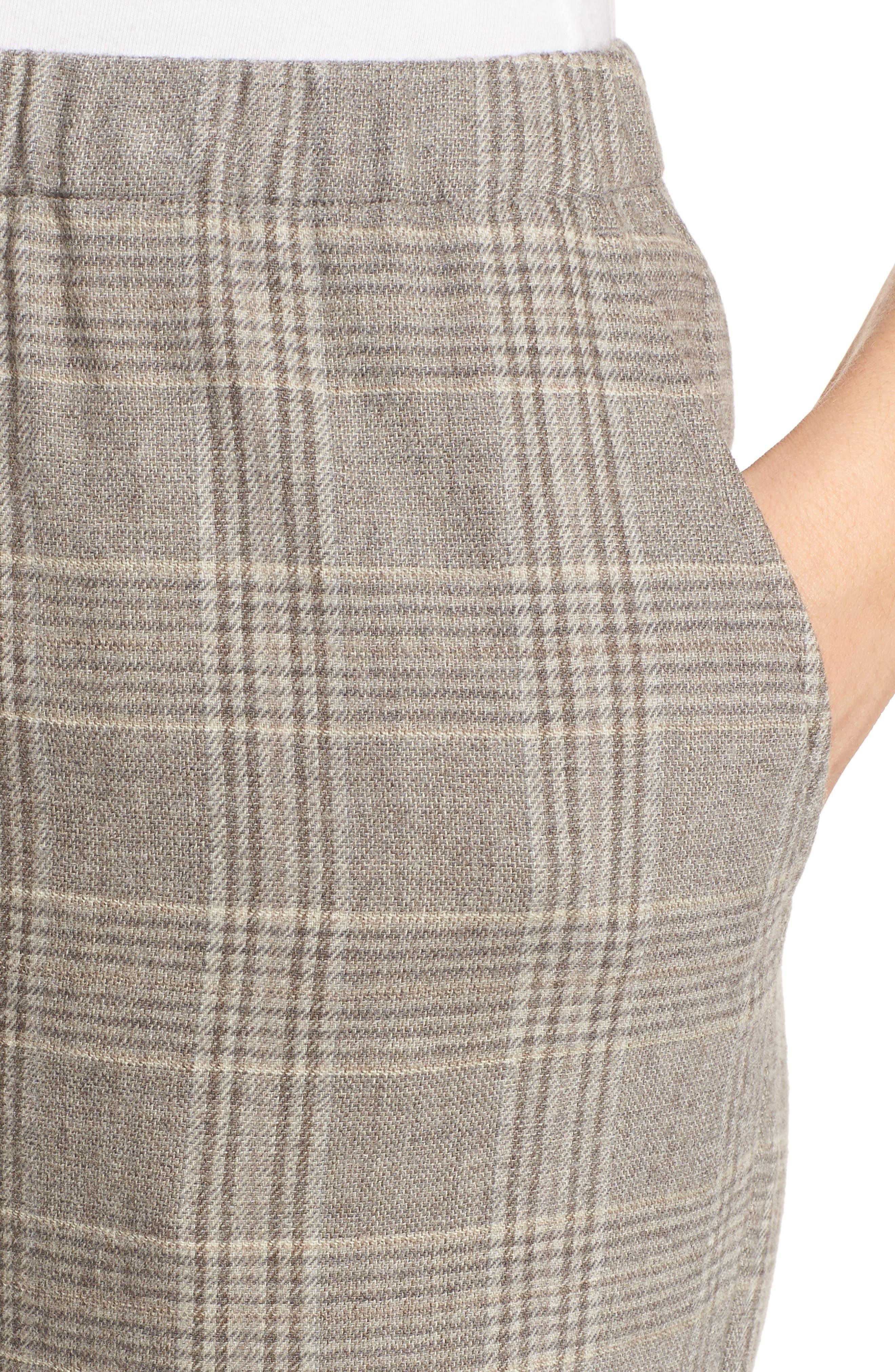 Plaid Wide Leg Crop Pants,                             Alternate thumbnail 4, color,                             542