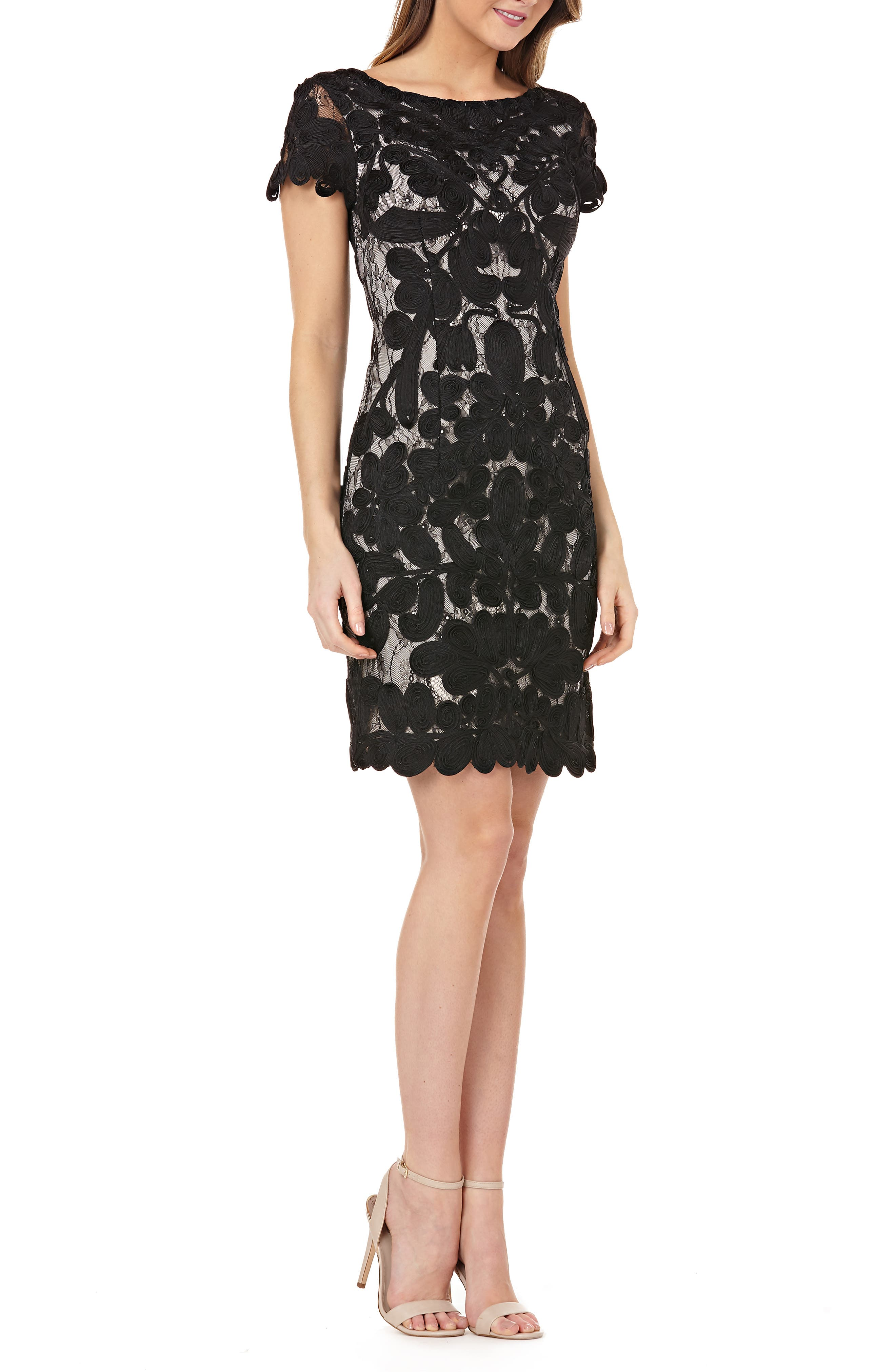 Js Collections Two-Tone Lace Embroidery Cocktail Dress, Black