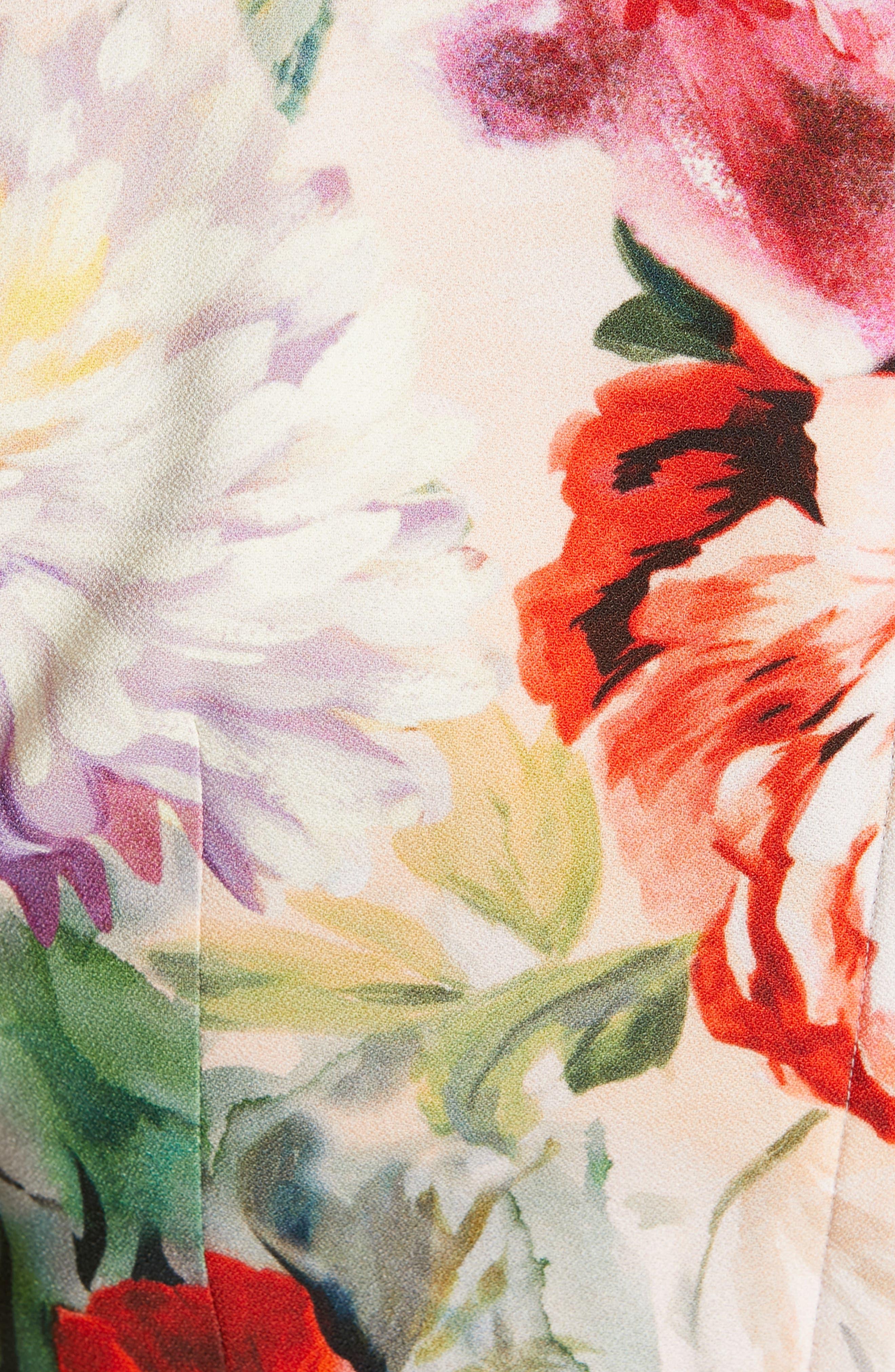 Floral Print Cady Dress,                             Alternate thumbnail 6, color,                             PINK FLORAL
