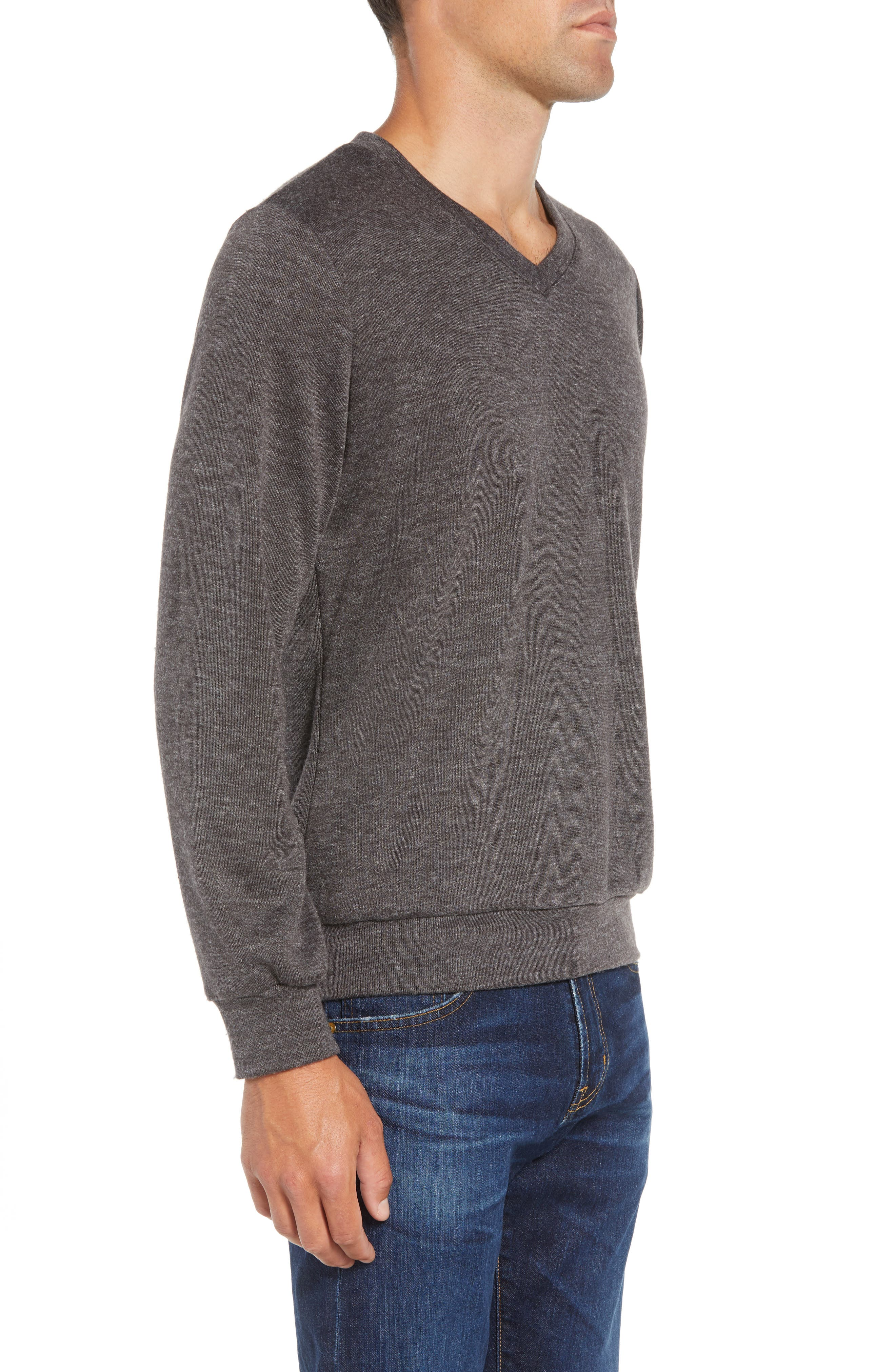 Prospect V-Neck Performance Sweater,                             Alternate thumbnail 3, color,                             CHARCOAL