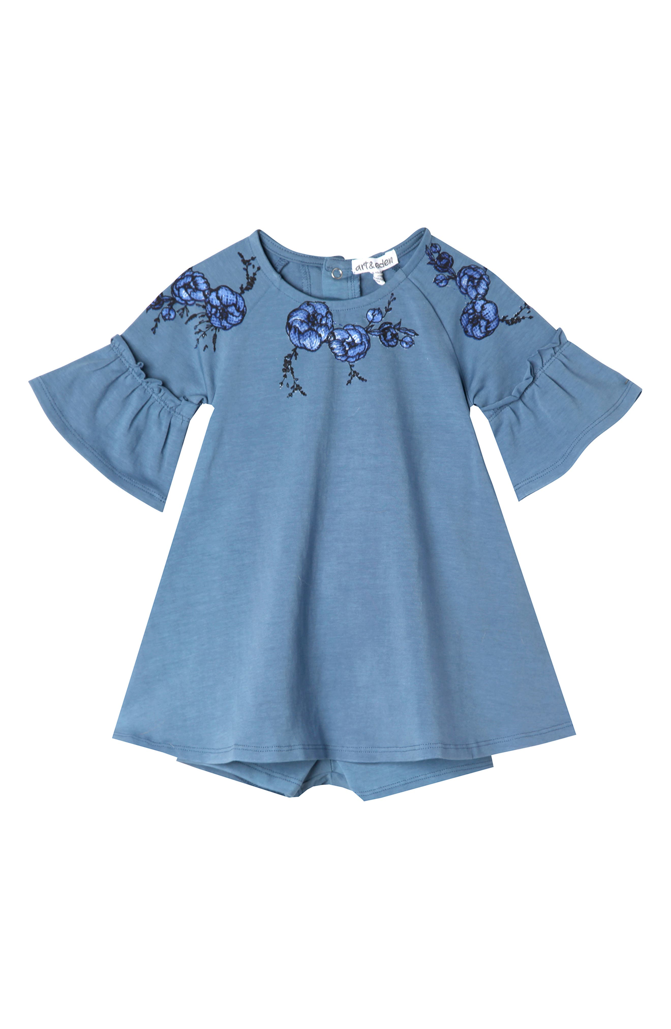 Abigail Embroidered Dress & Shorts Set,                         Main,                         color, AEGEAN BLUE