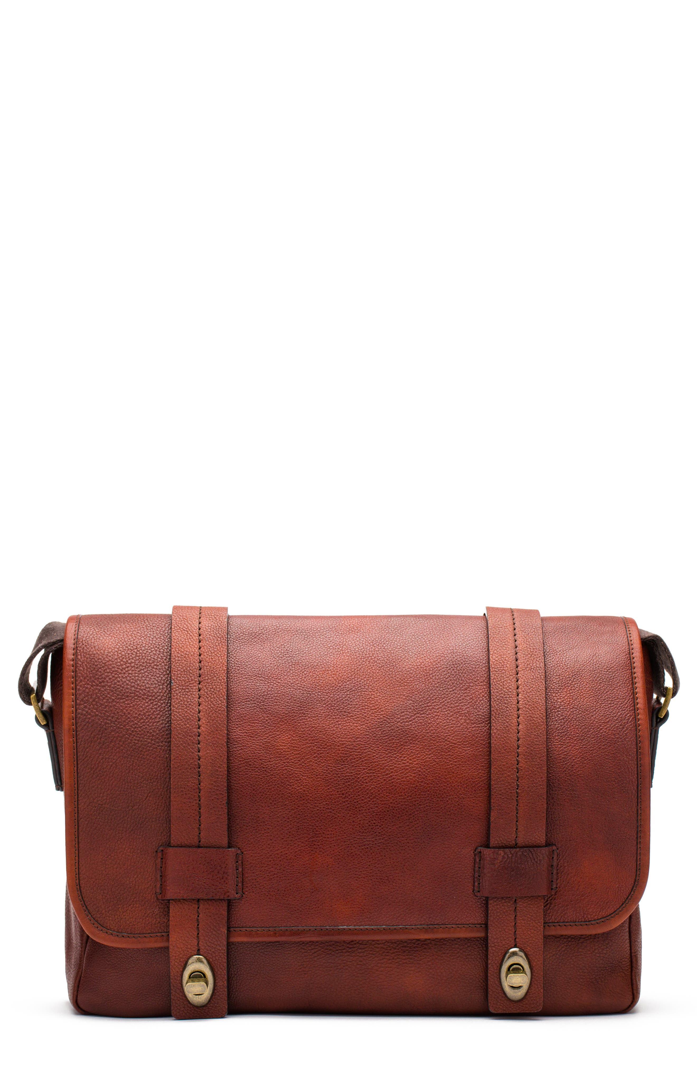 Leather Messenger Bag,                             Main thumbnail 1, color,                             DARK BROWN