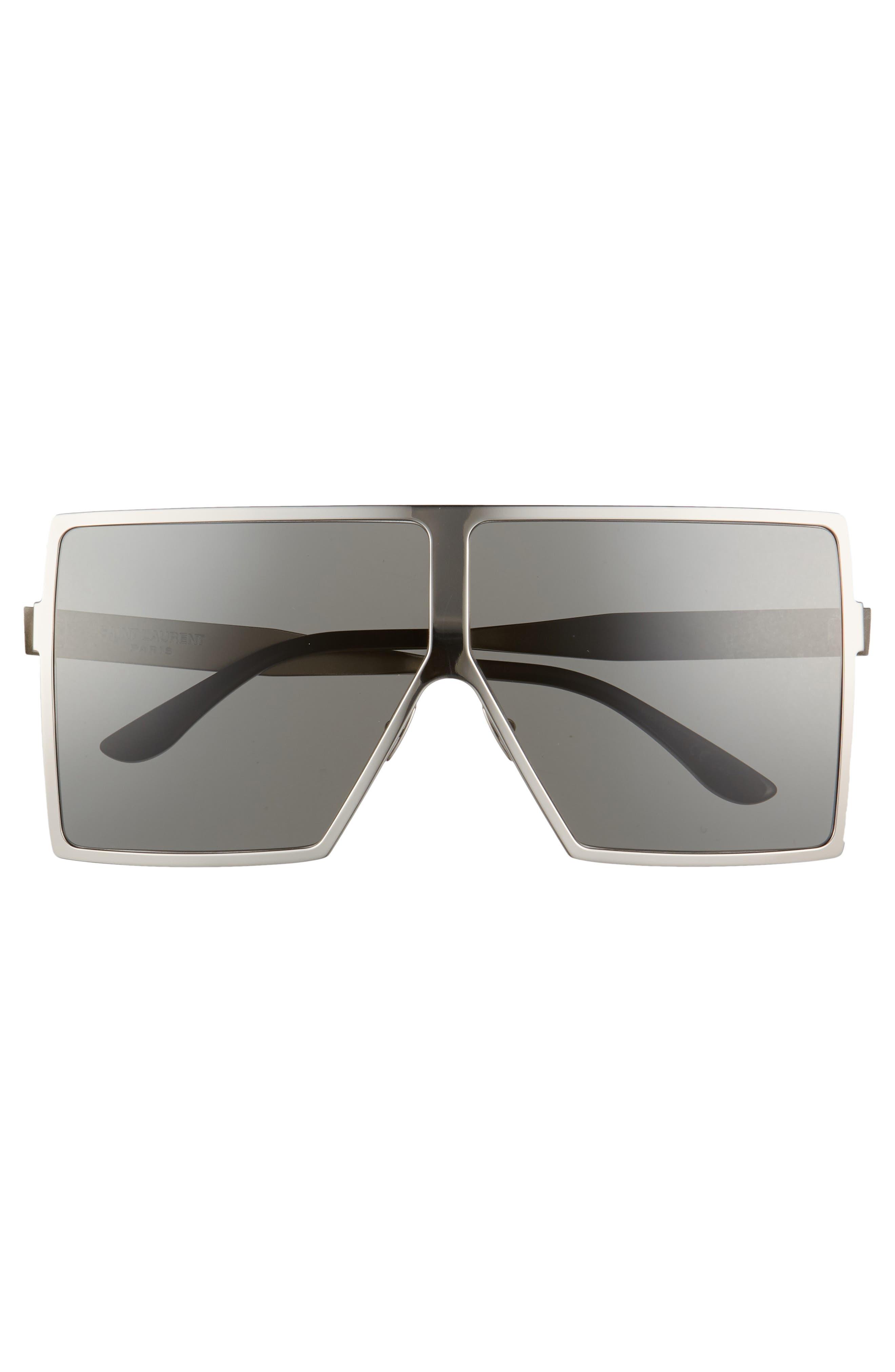 Betty 68mm Metal Shield Sunglasses,                             Alternate thumbnail 3, color,                             SILVER