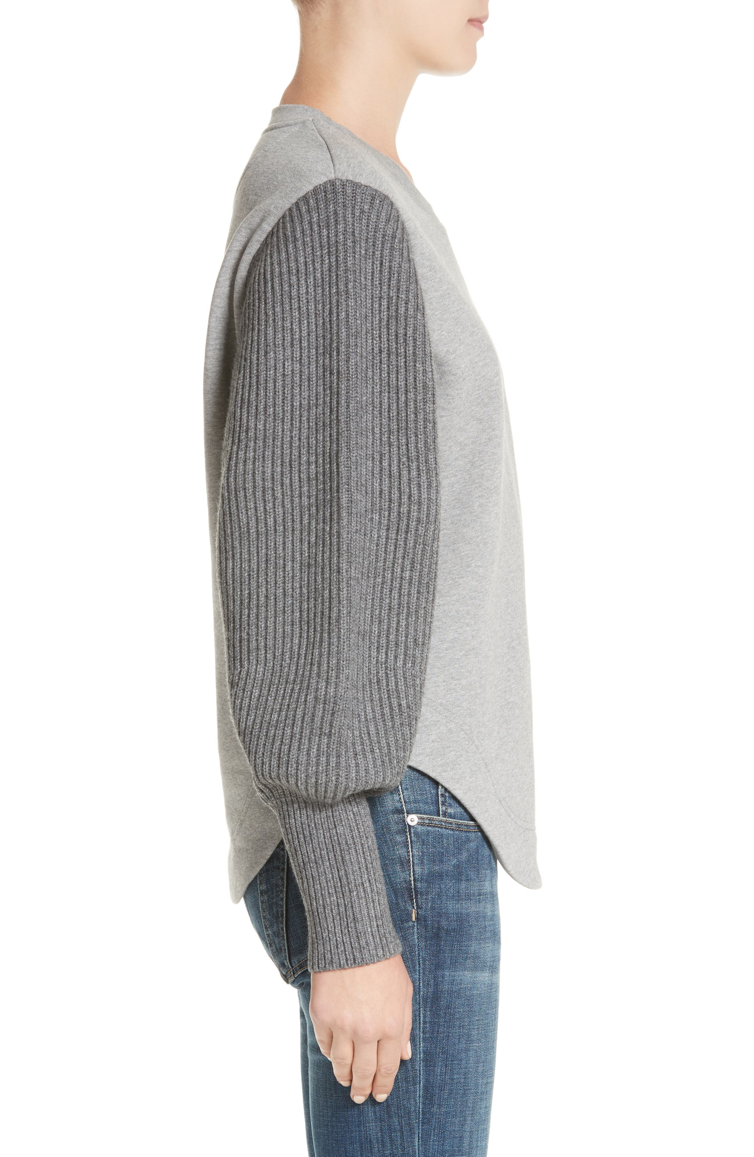 Alcobaca Rib Knit Sleeve Sweatshirt,                             Alternate thumbnail 3, color,                             050