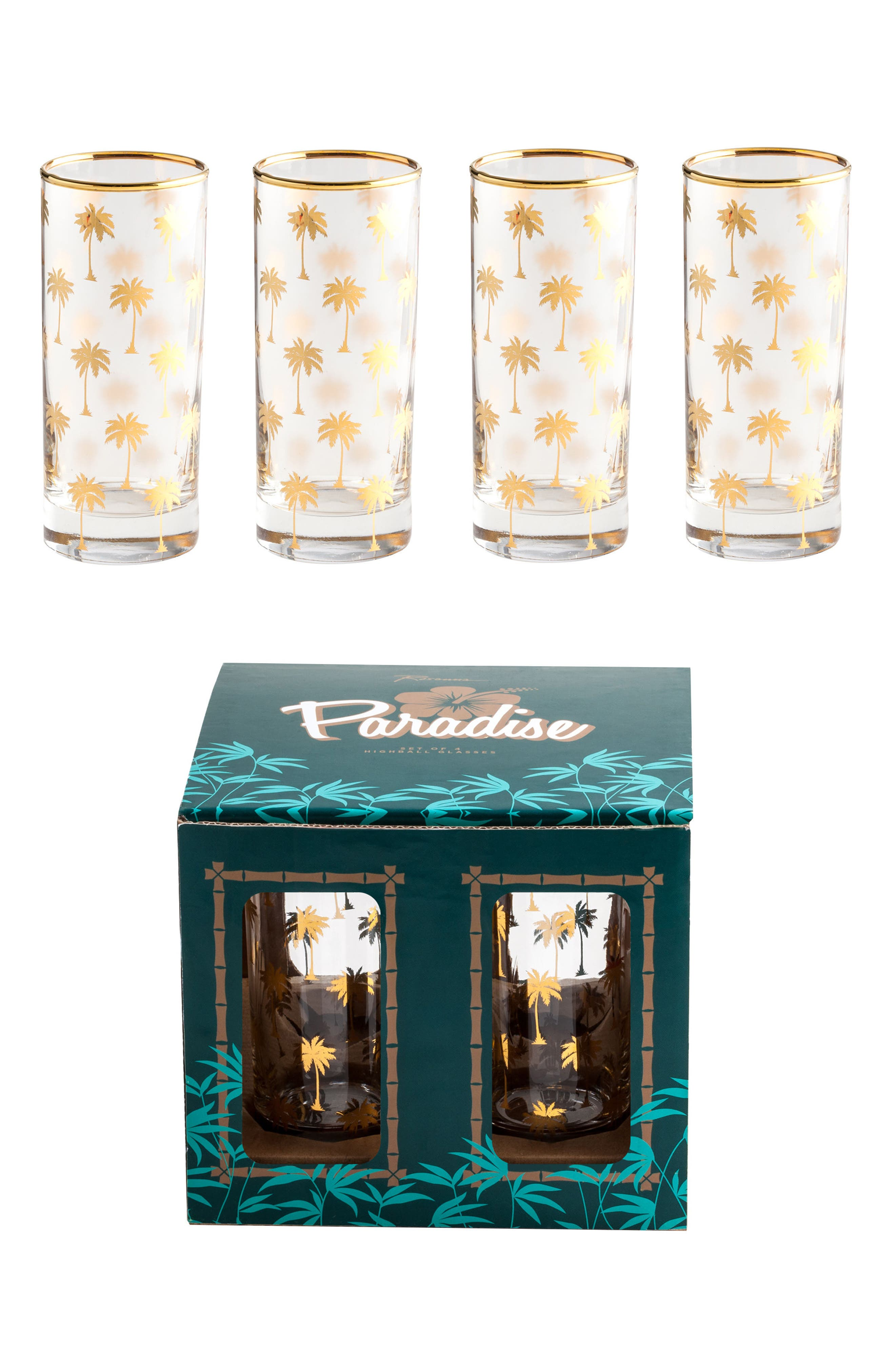 Palm Tree Set of 4 Highball Glasses,                             Alternate thumbnail 3, color,                             710