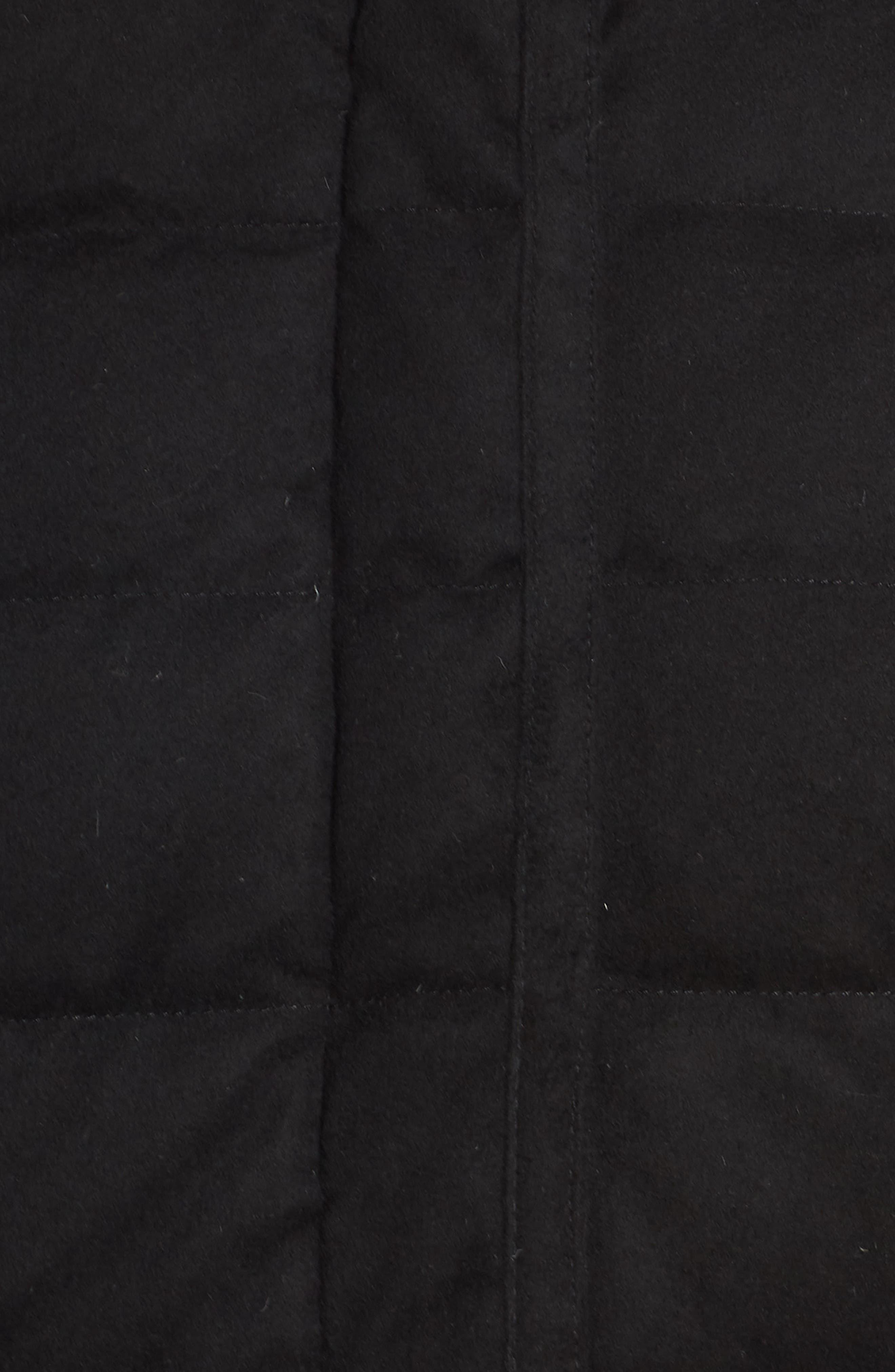 Celeste Genuine Shearling Trim Down Coat,                             Alternate thumbnail 7, color,                             BLACK
