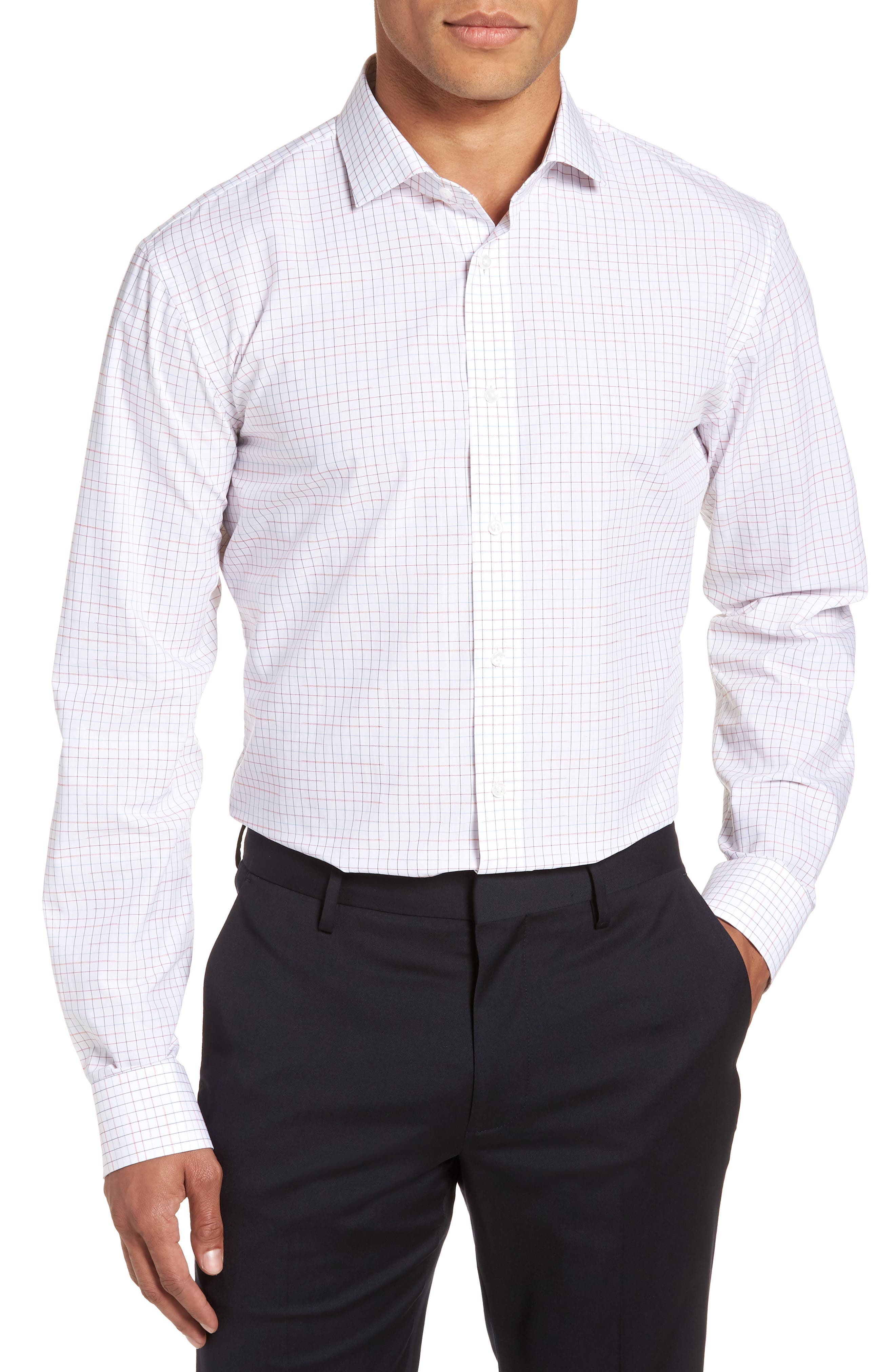 Trim Fit Check Dress Shirt,                         Main,                         color, RED CHILI