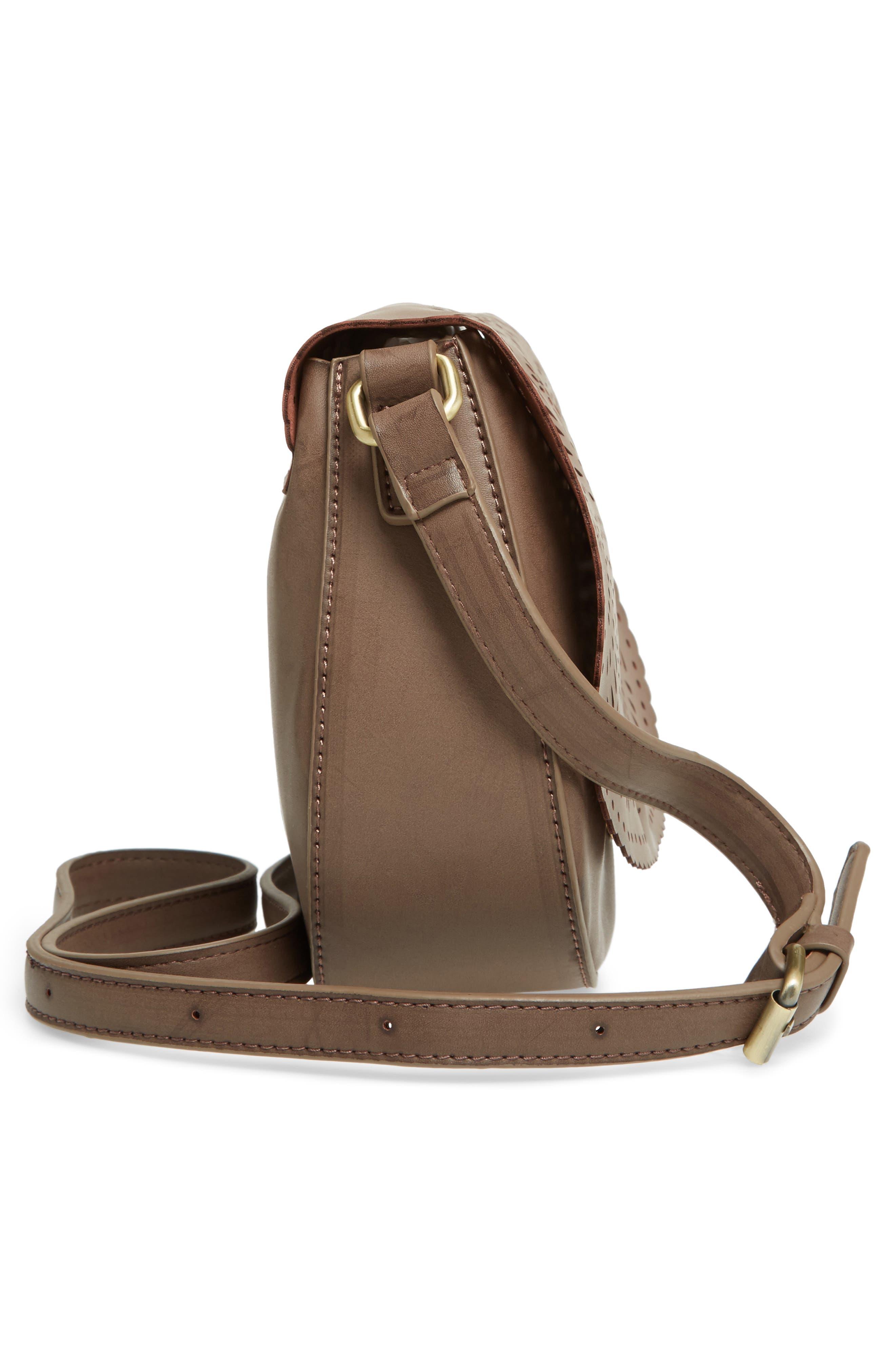 Dakota Faux Leather Saddle Bag,                             Alternate thumbnail 5, color,                             022